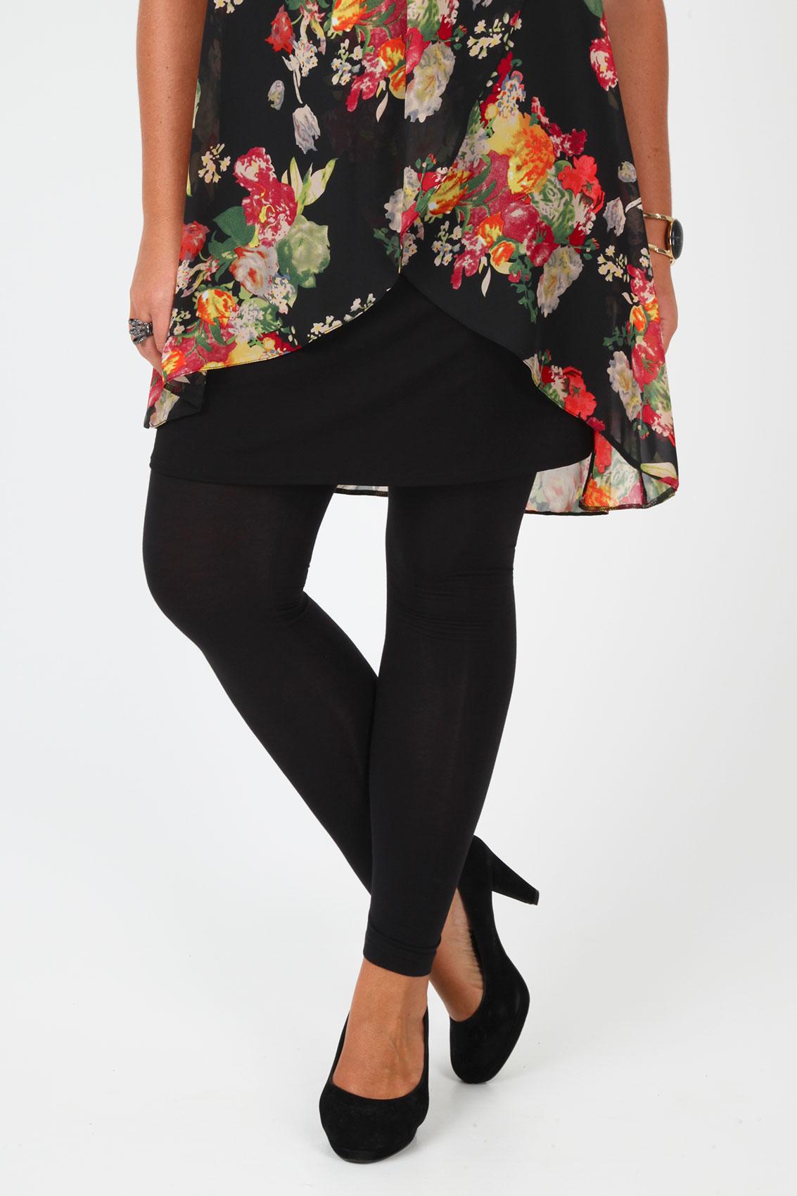 Black Viscose Elastane Full Length Leggings Plus Size 16 to 32