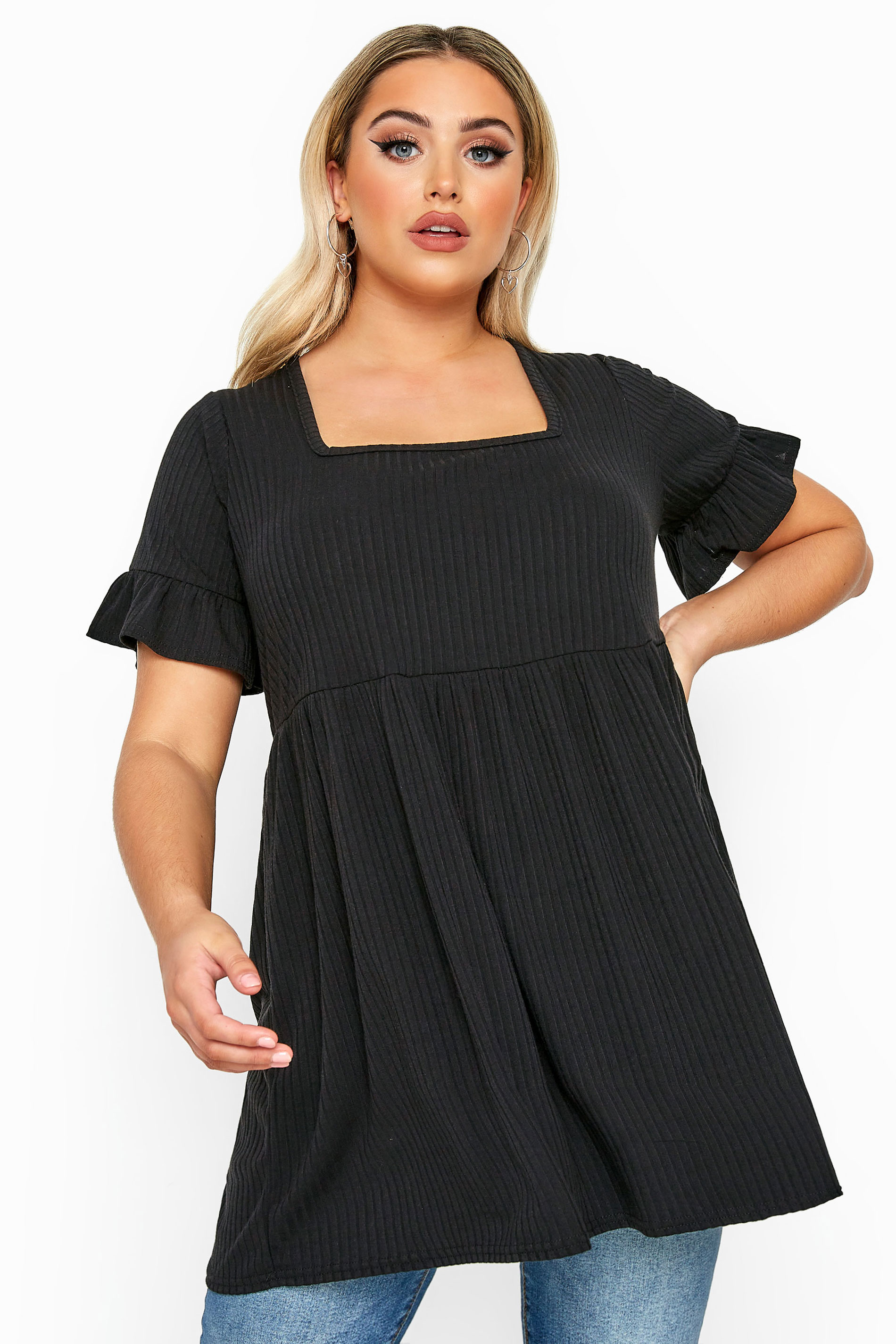 LIMITED COLLECTION Black Ribbed Square Neck Smock Top