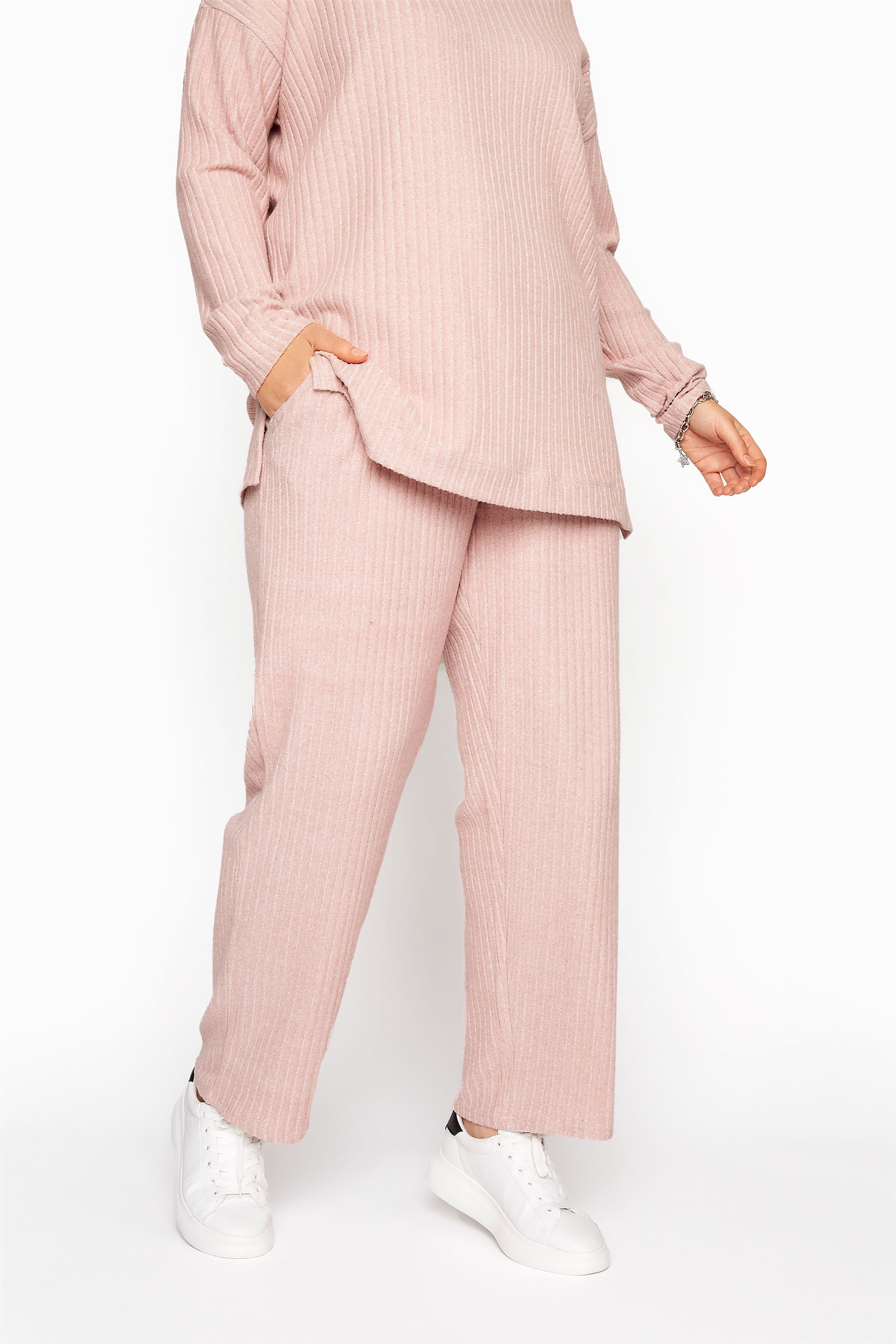 Pink Ribbed Soft Touch Trousers
