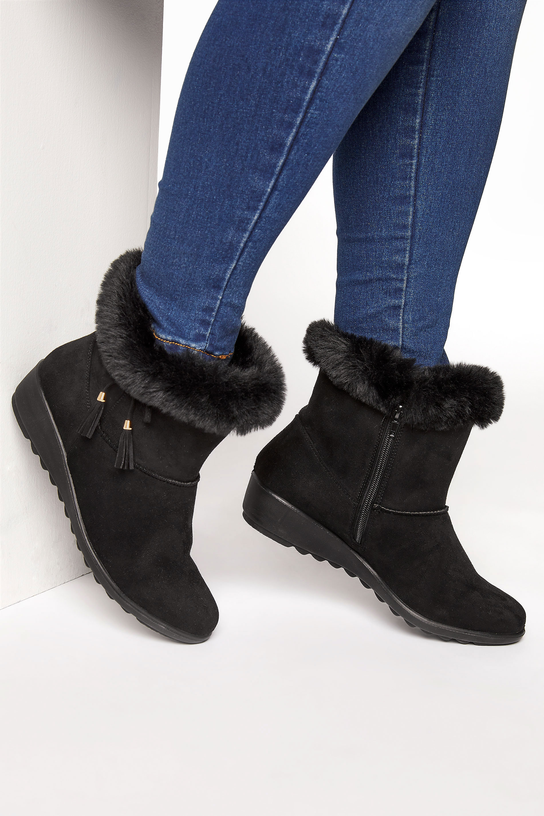 Black Bow Trim Wedge Boots in Extra Wide Fit_M.jpg
