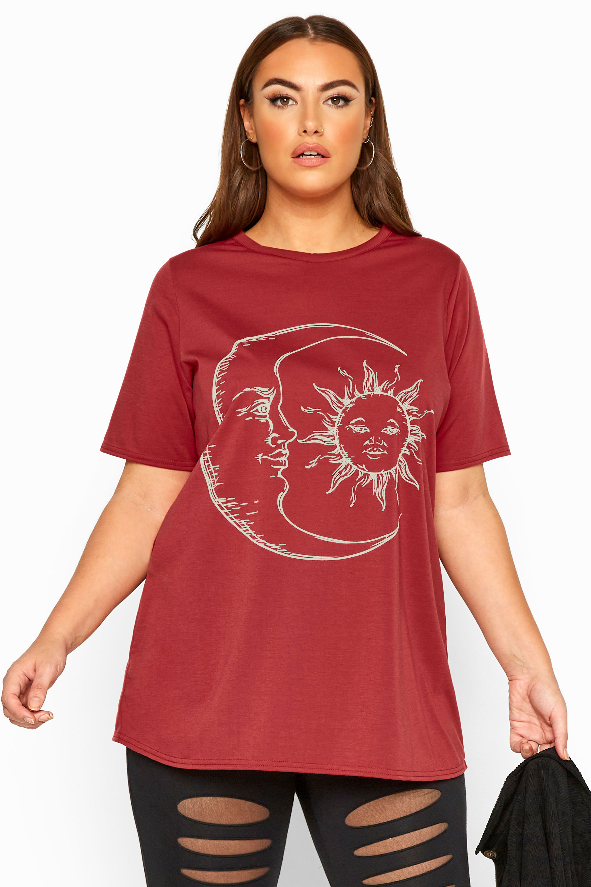 LIMITED COLLECTION Wine Red Astrology Print Top
