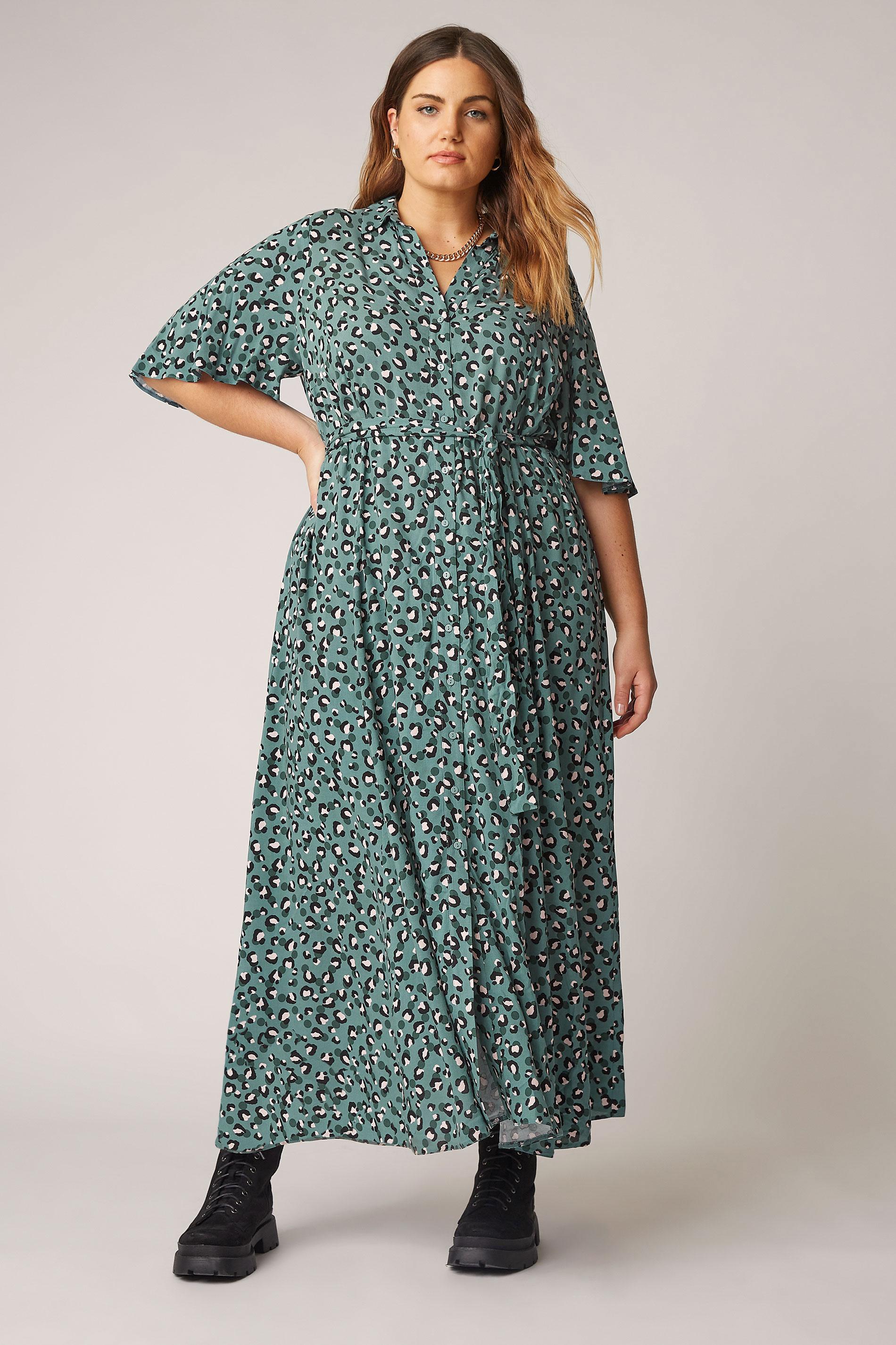 THE LIMITED EDIT Teal Leopard Print Shirt Maxi Dress_A.jpg