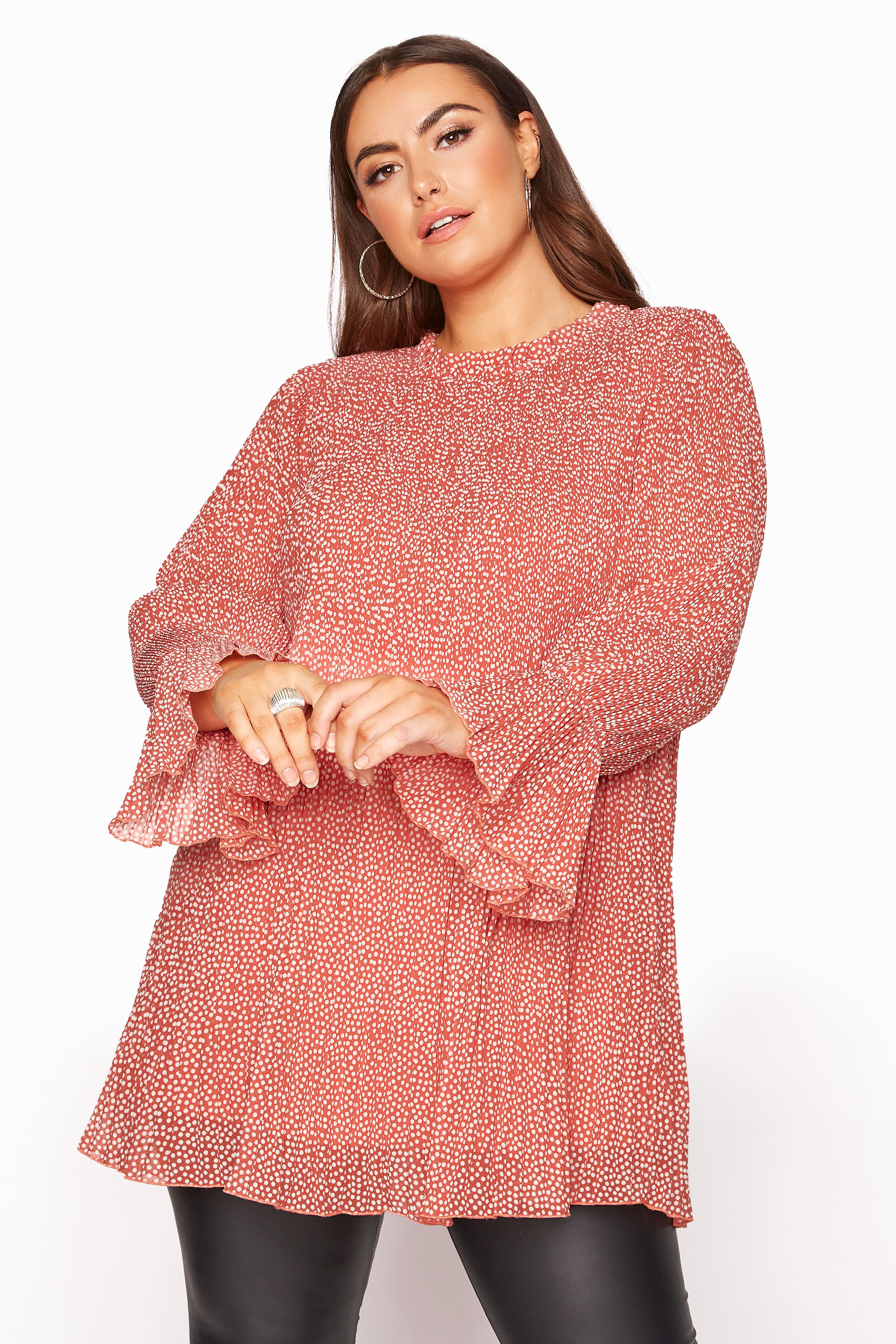YOURS LONDON Pink Polka Dot Flared Sleeve Blouse_A.jpg