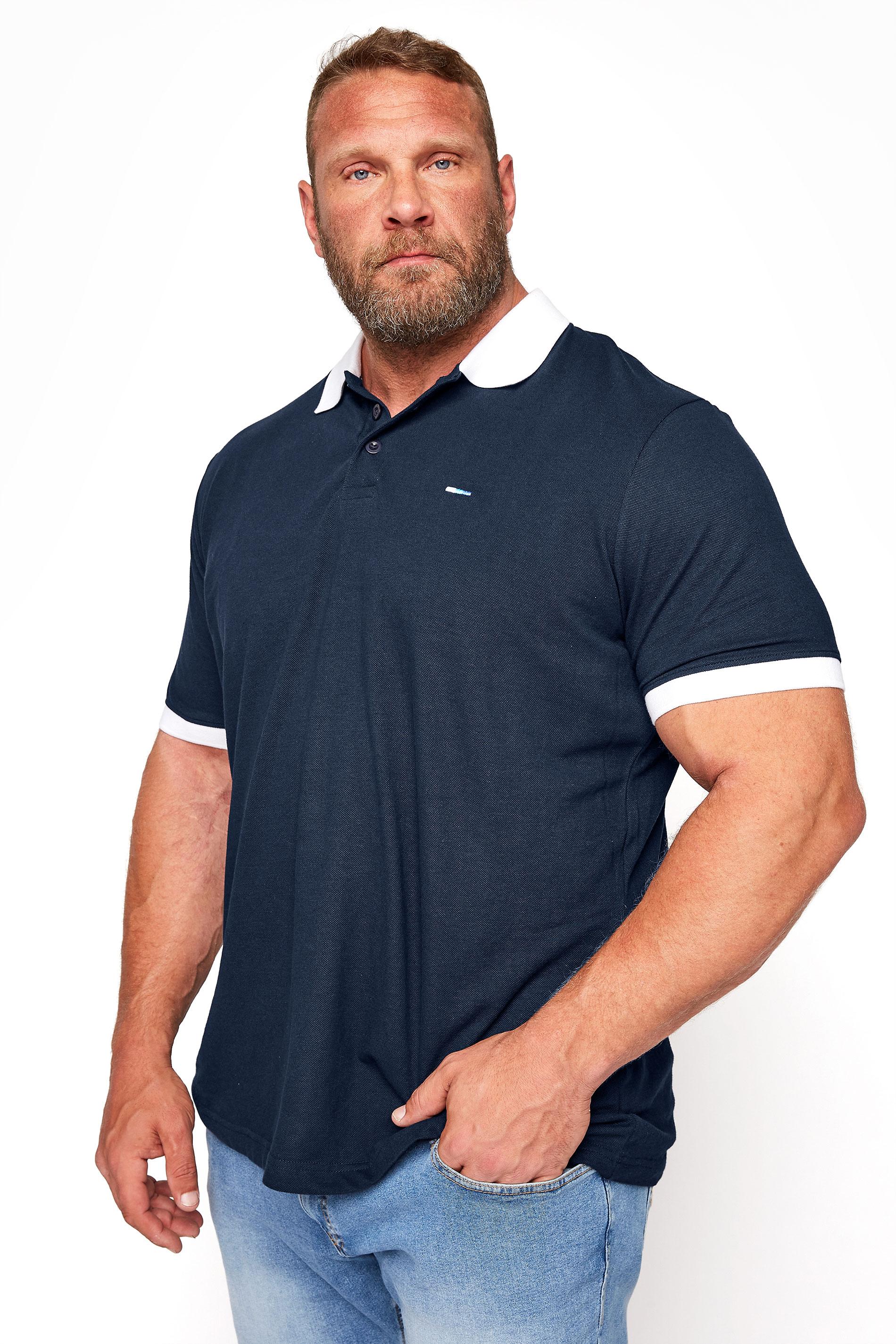BadRhino Navy & White Contrast Polo Shirt_M.jpg