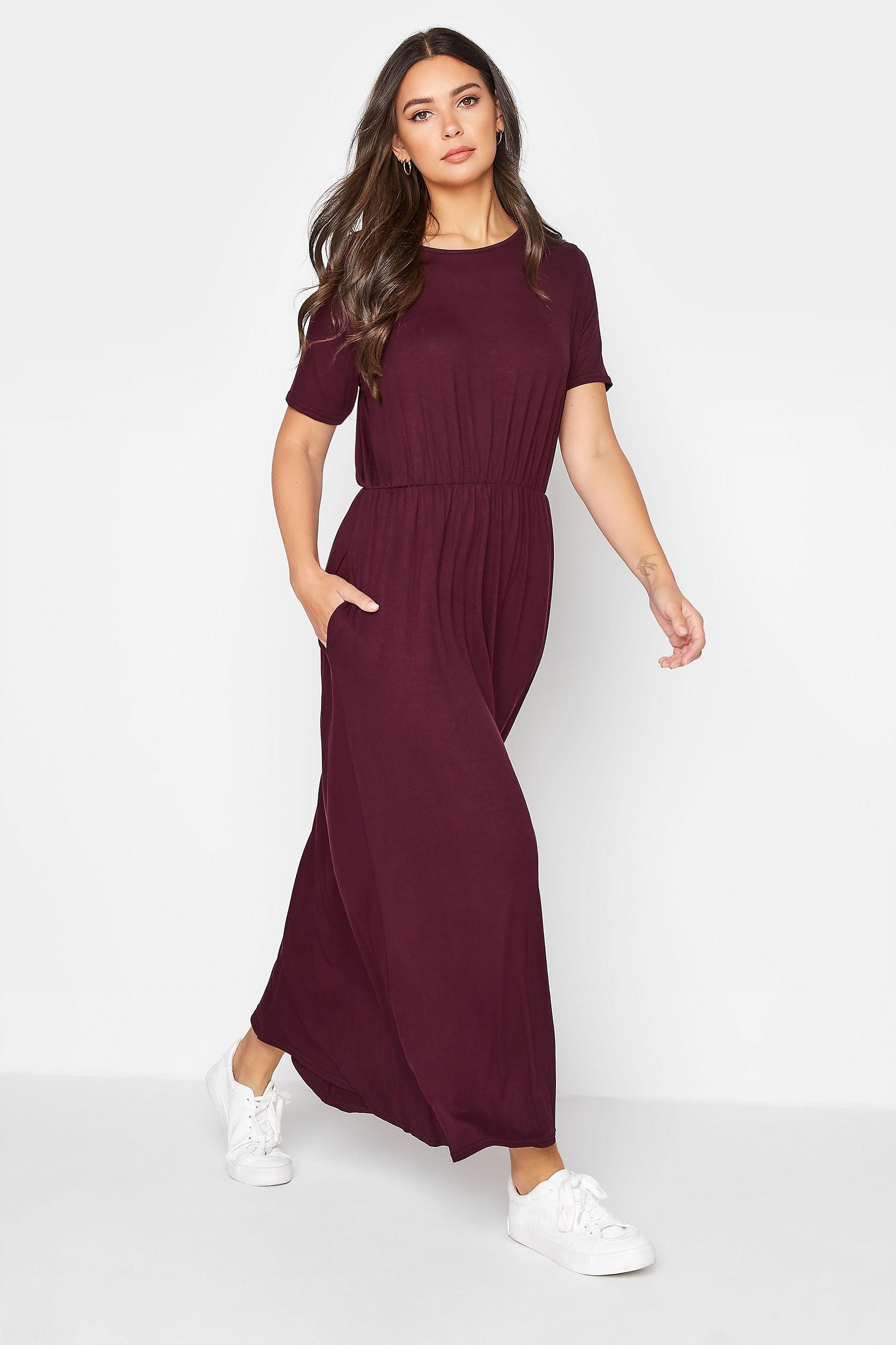 LTS Burgundy Pocket Midaxi Dress