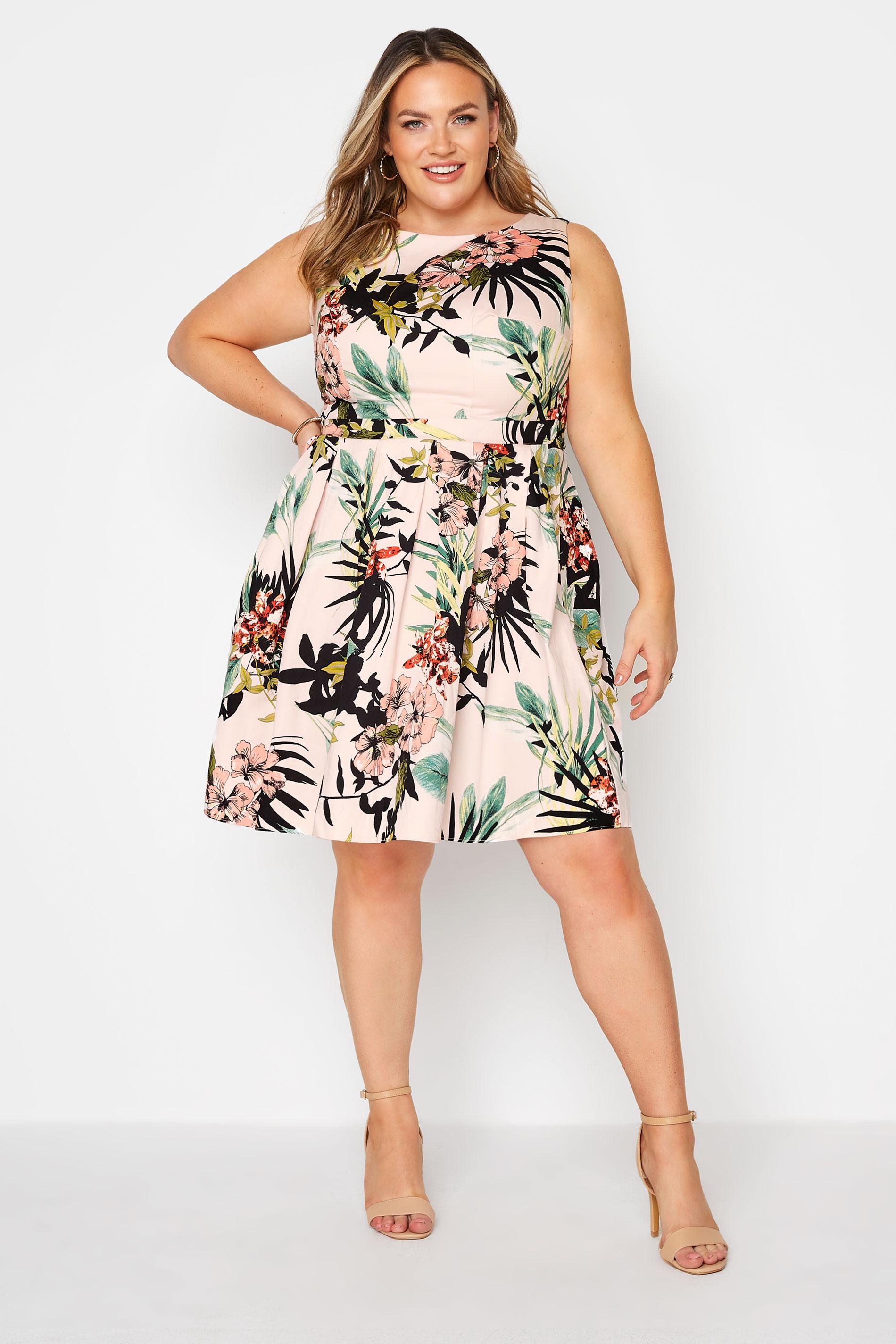 Pink Tropical Print Skater Dress_A.jpg