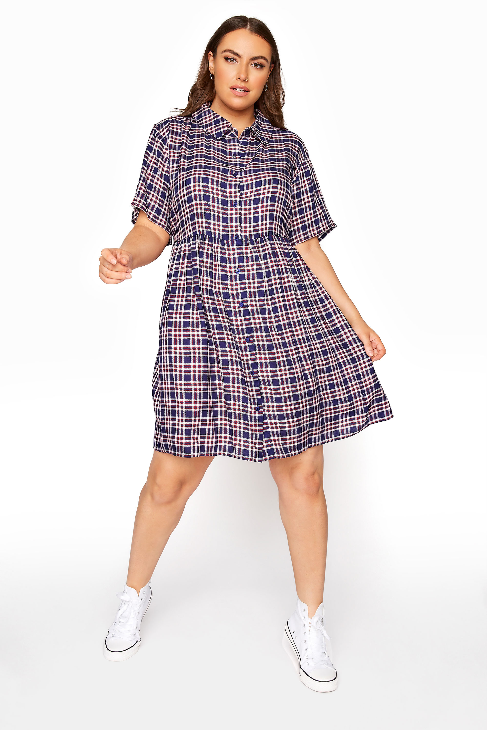 LIMITED COLLECTION Navy Check Shirt Smock Dress