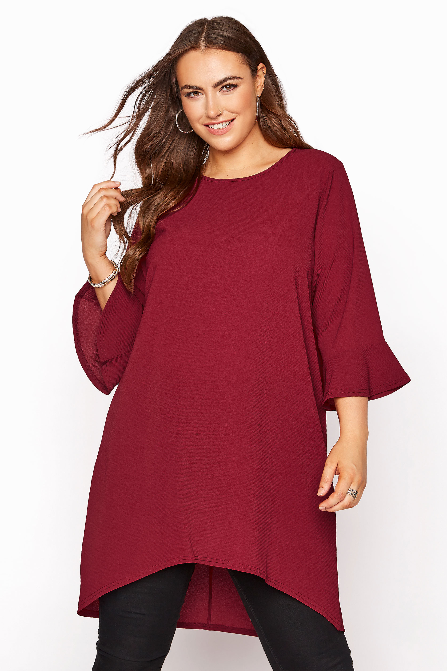 YOURS LONDON Wine Red Flute Sleeve Tunic_A.jpg