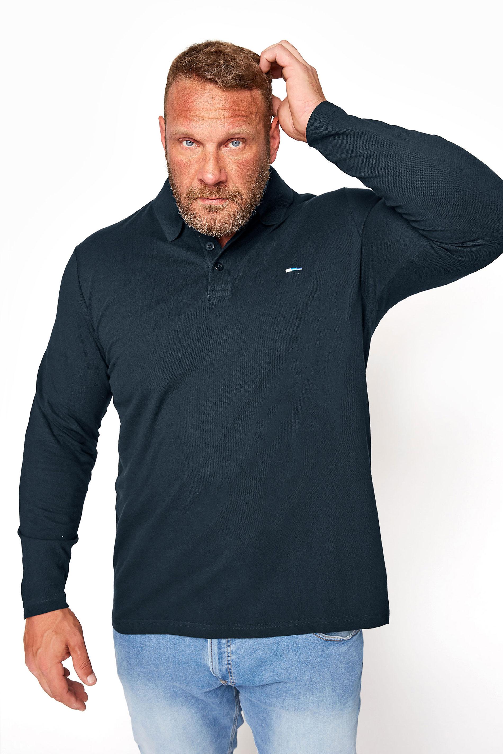 BadRhino Navy Essential Long Sleeve Polo Shirt_M.jpg