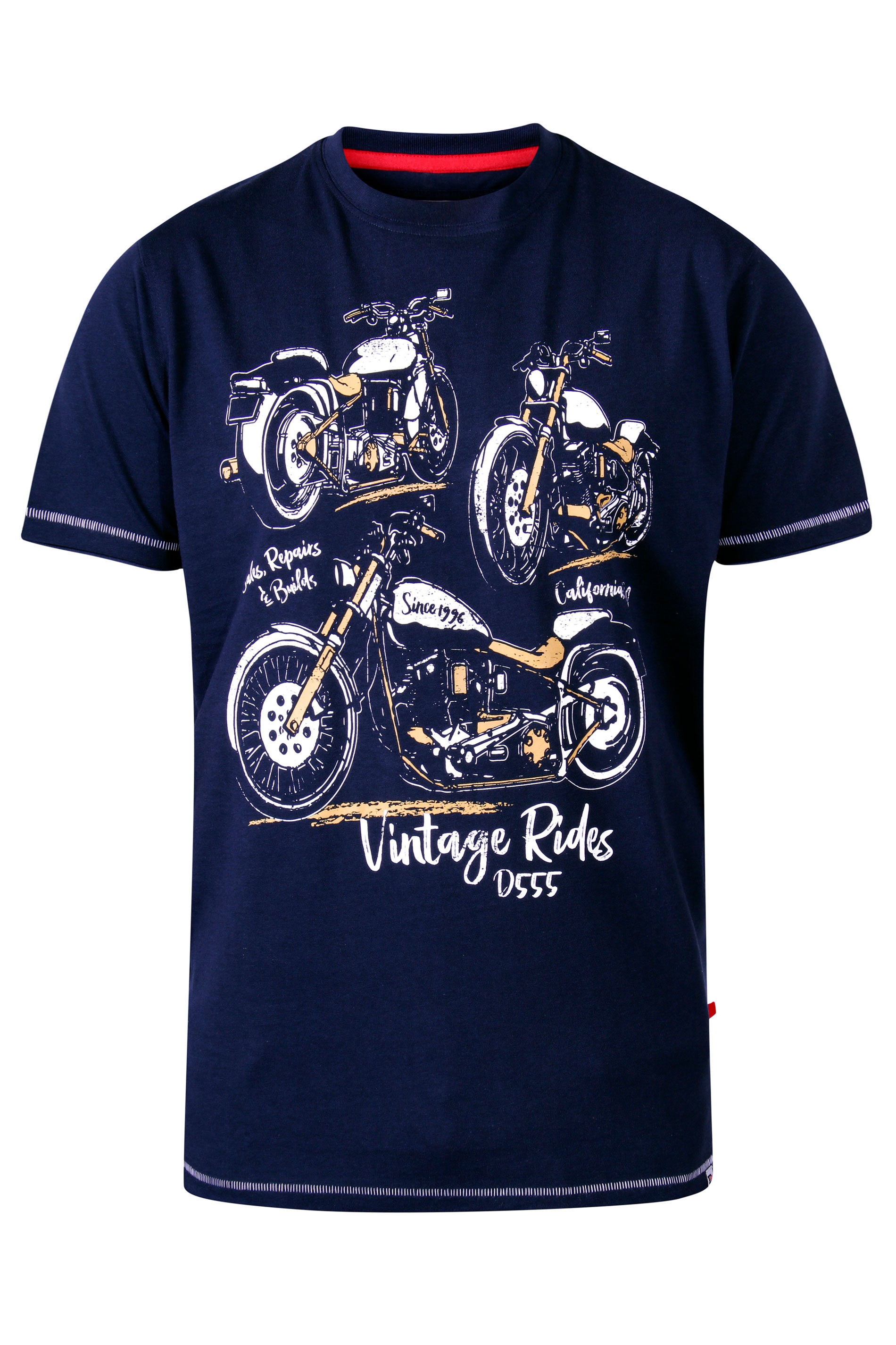 D555 Navy Motorbike Printed T-Shirt