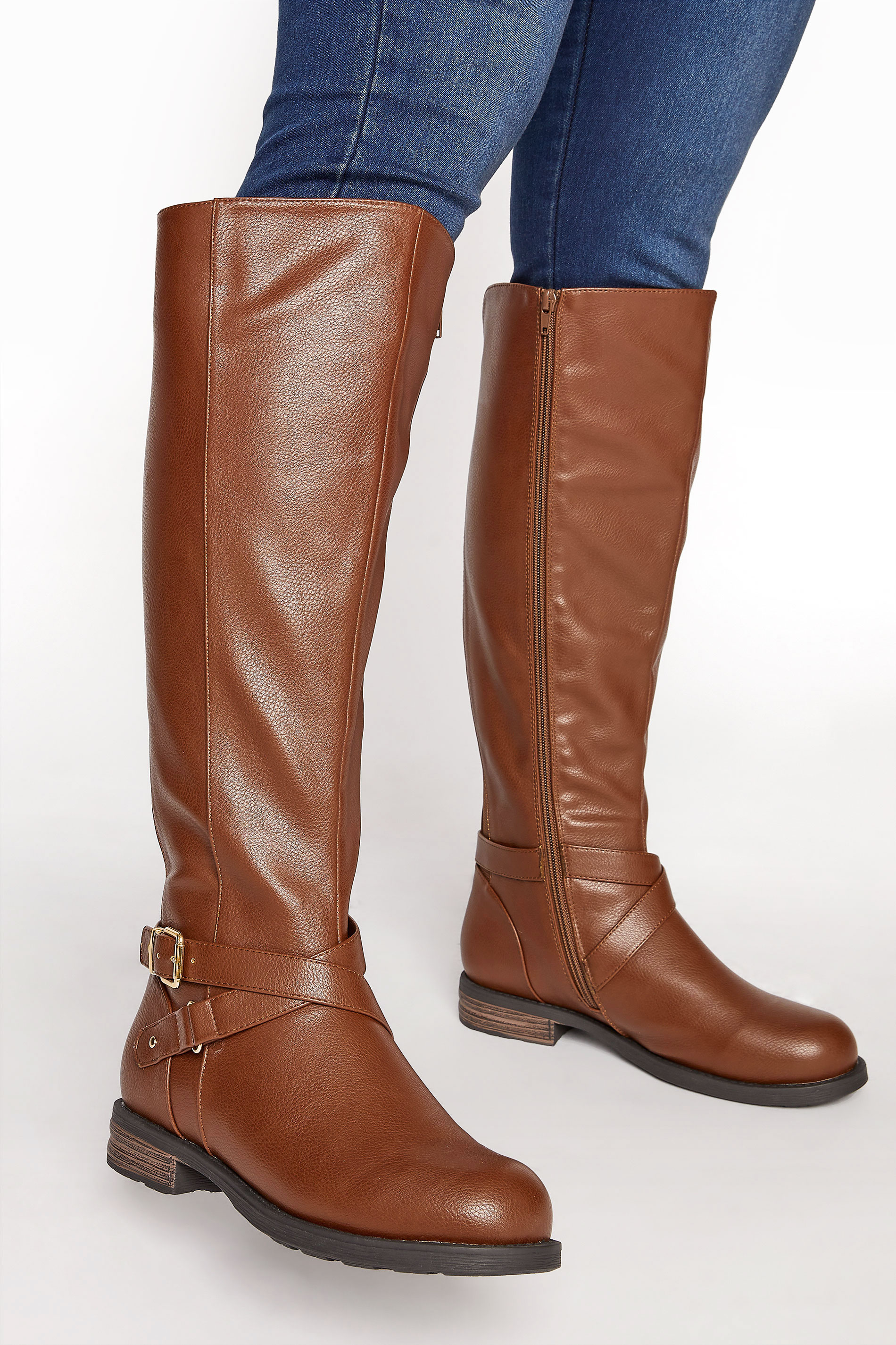 Brown Faux Leather Buckle Knee High Boots In Extra Wide Fit_M.jpg