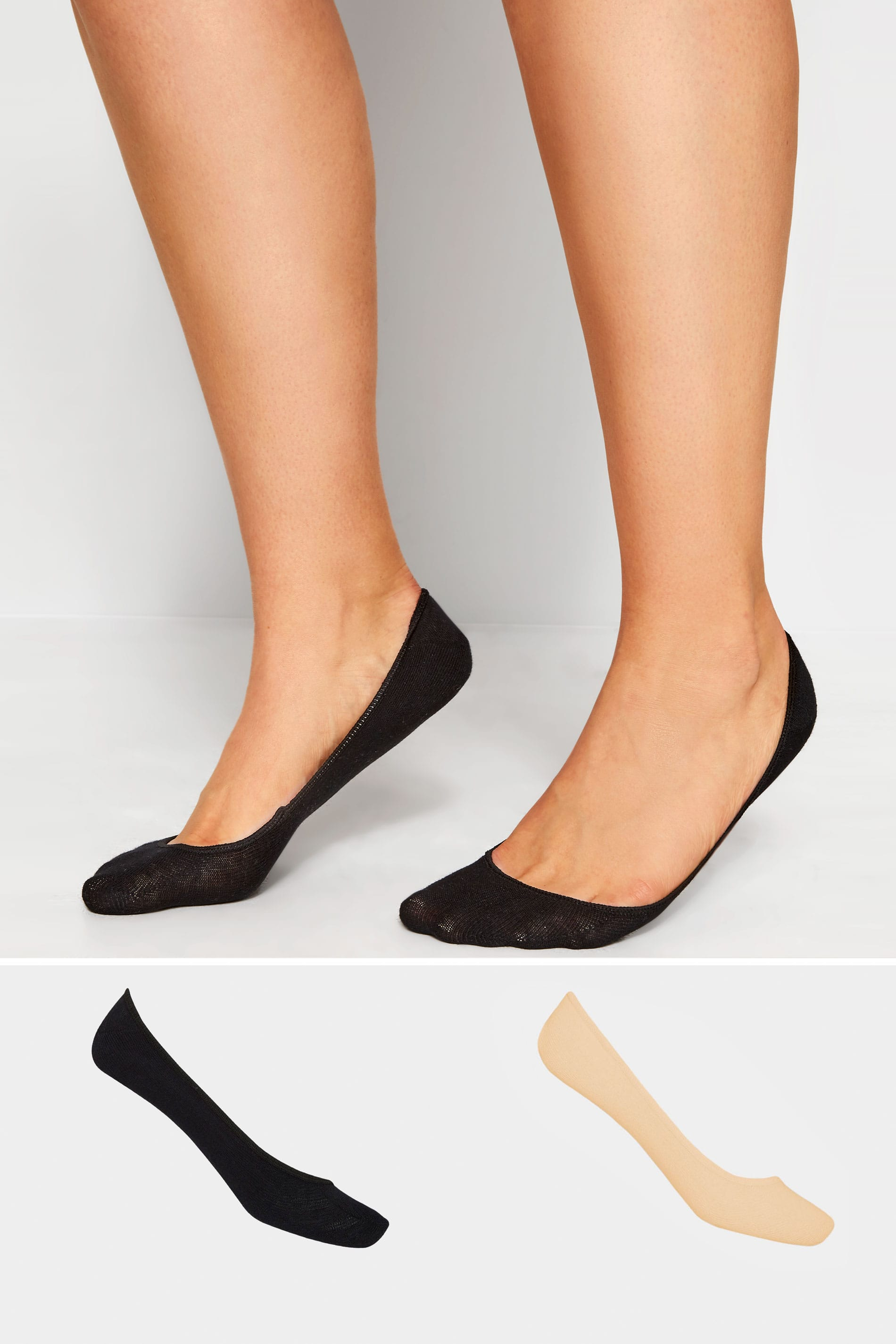 2 PACK Black & Nude Footsie Socks