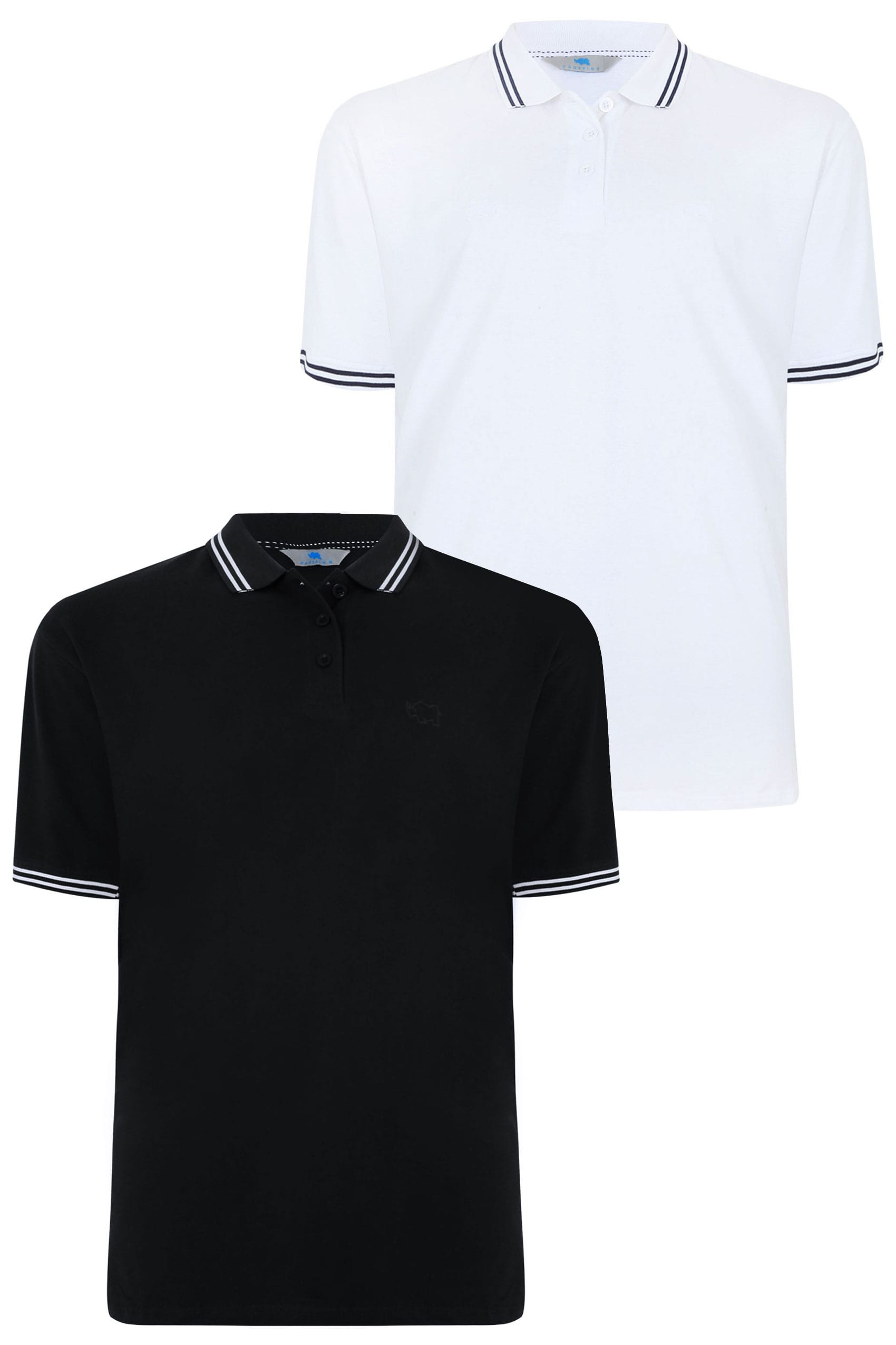 new style f5bf0 60b09 2 PACK BadRhino Black & White Polo Shirt With Stripe Detail