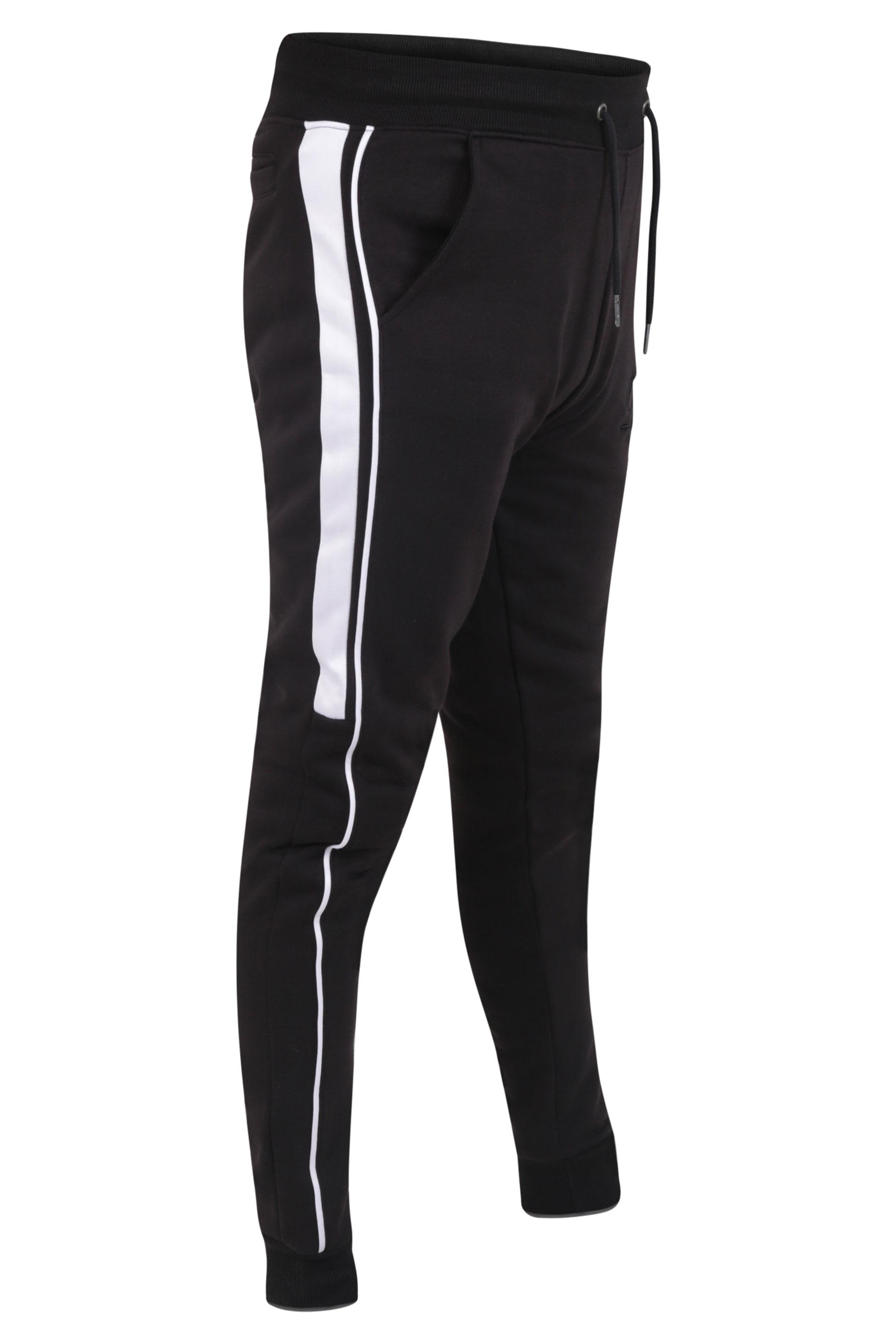 D555 Black Couture Side Stripe Joggers