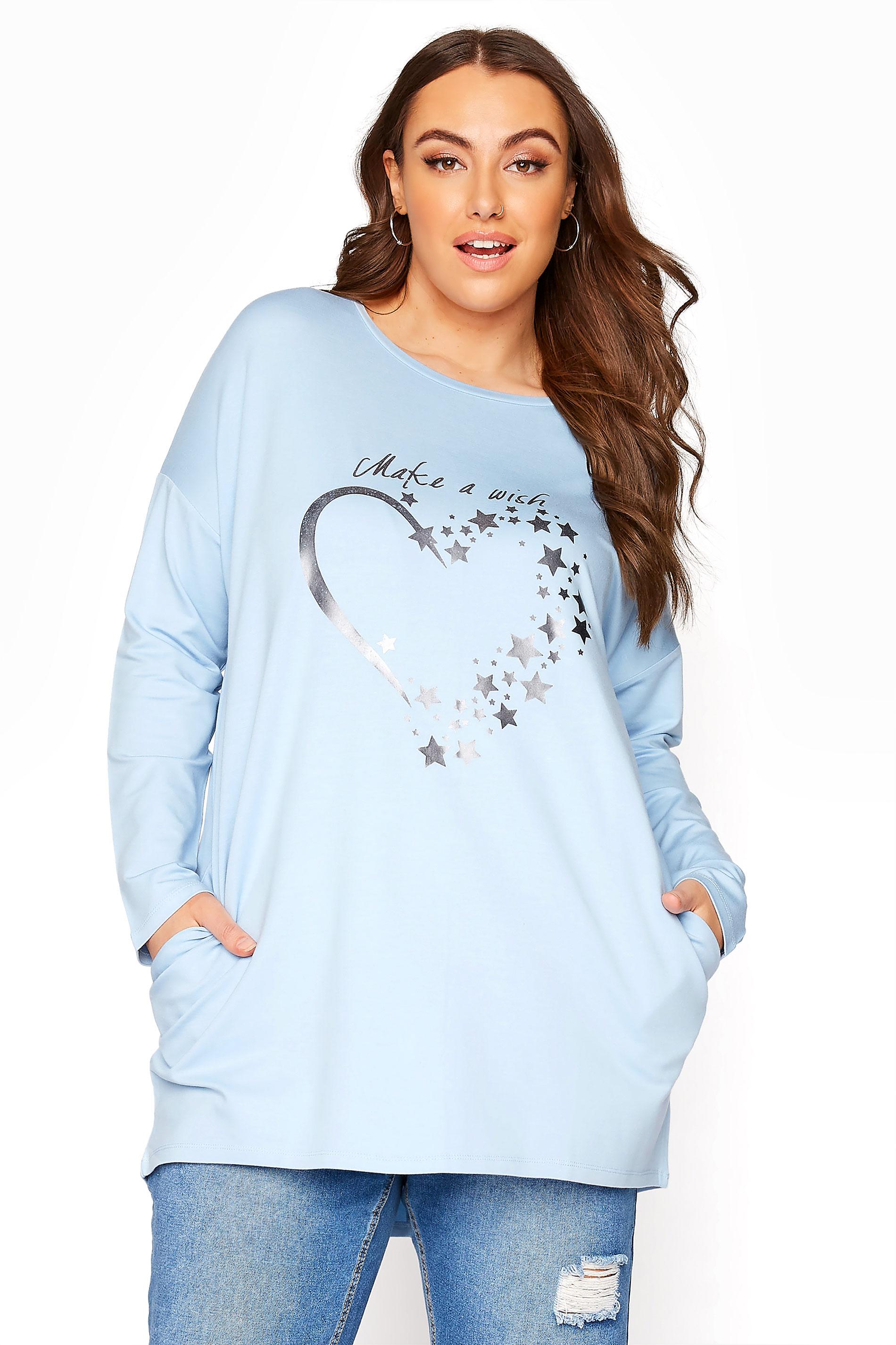 Blue Silver Heart Sweatshirt