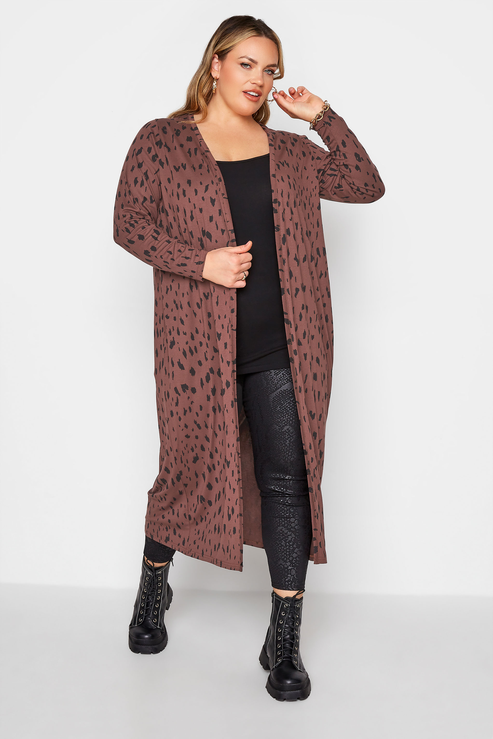 LIMITED COLLECTION Brown Animal Marking Longline Cardigan_A.jpg