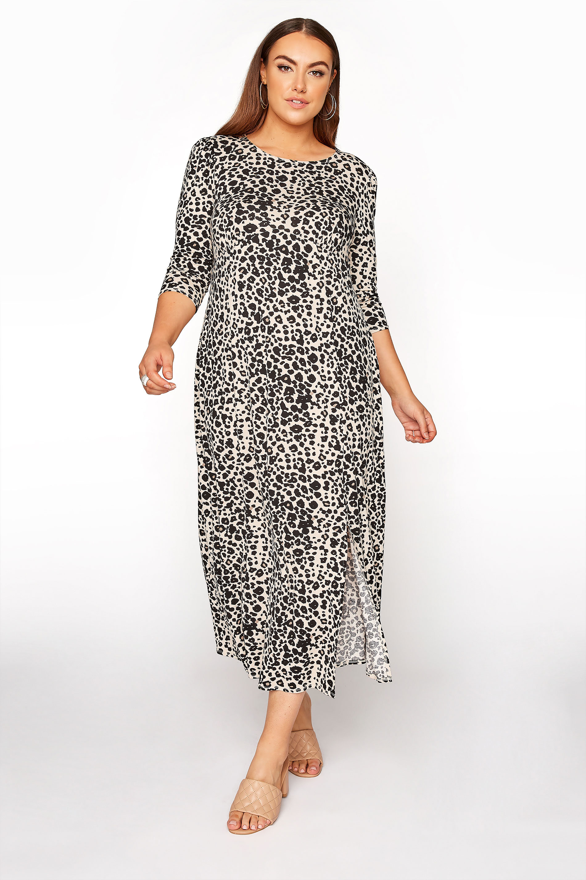 YOURS LONDON Beige Leopard Midaxi Split Dress_B.jpg