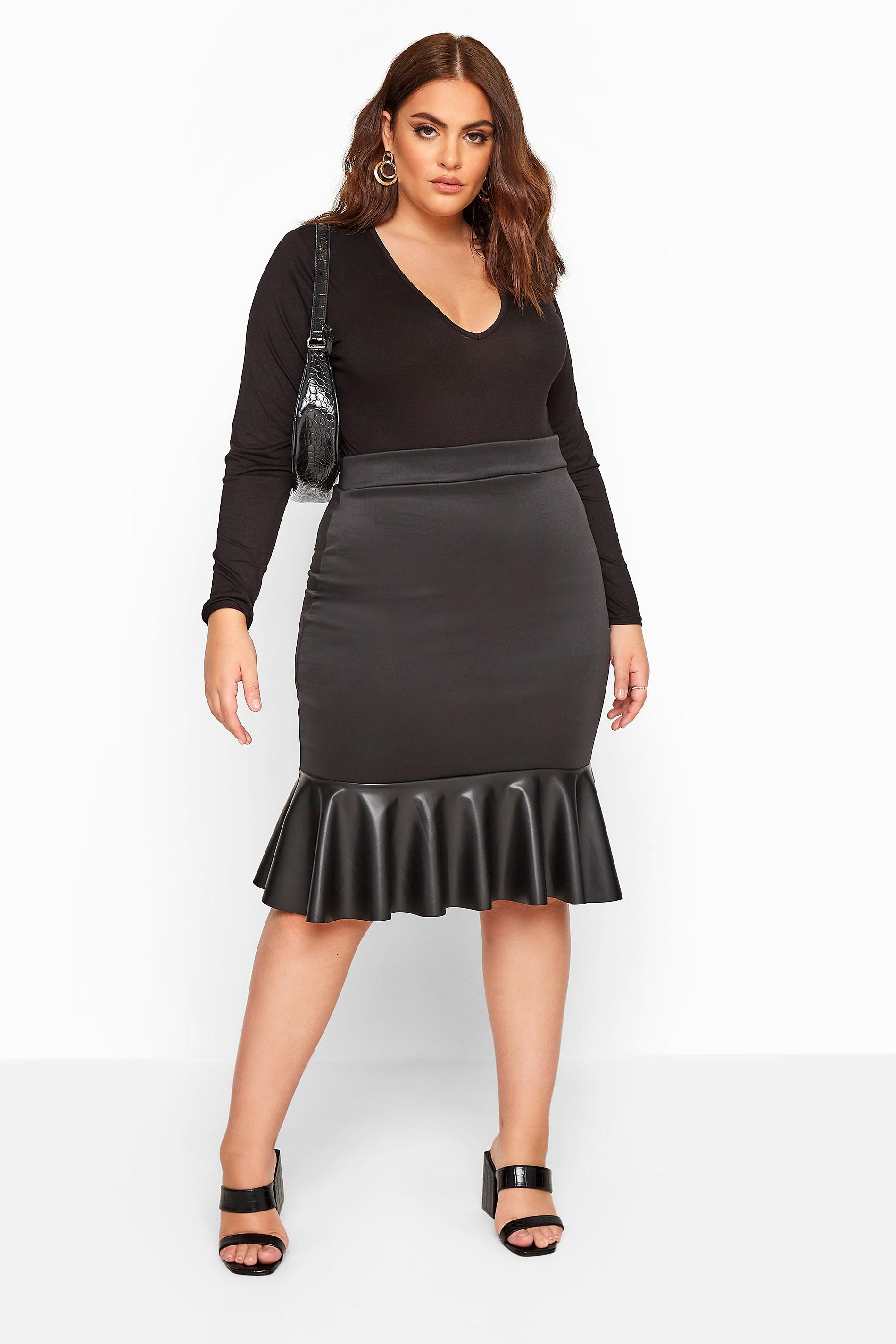 YOURS LONDON Black Scuba Crepe PU Frill Skirt