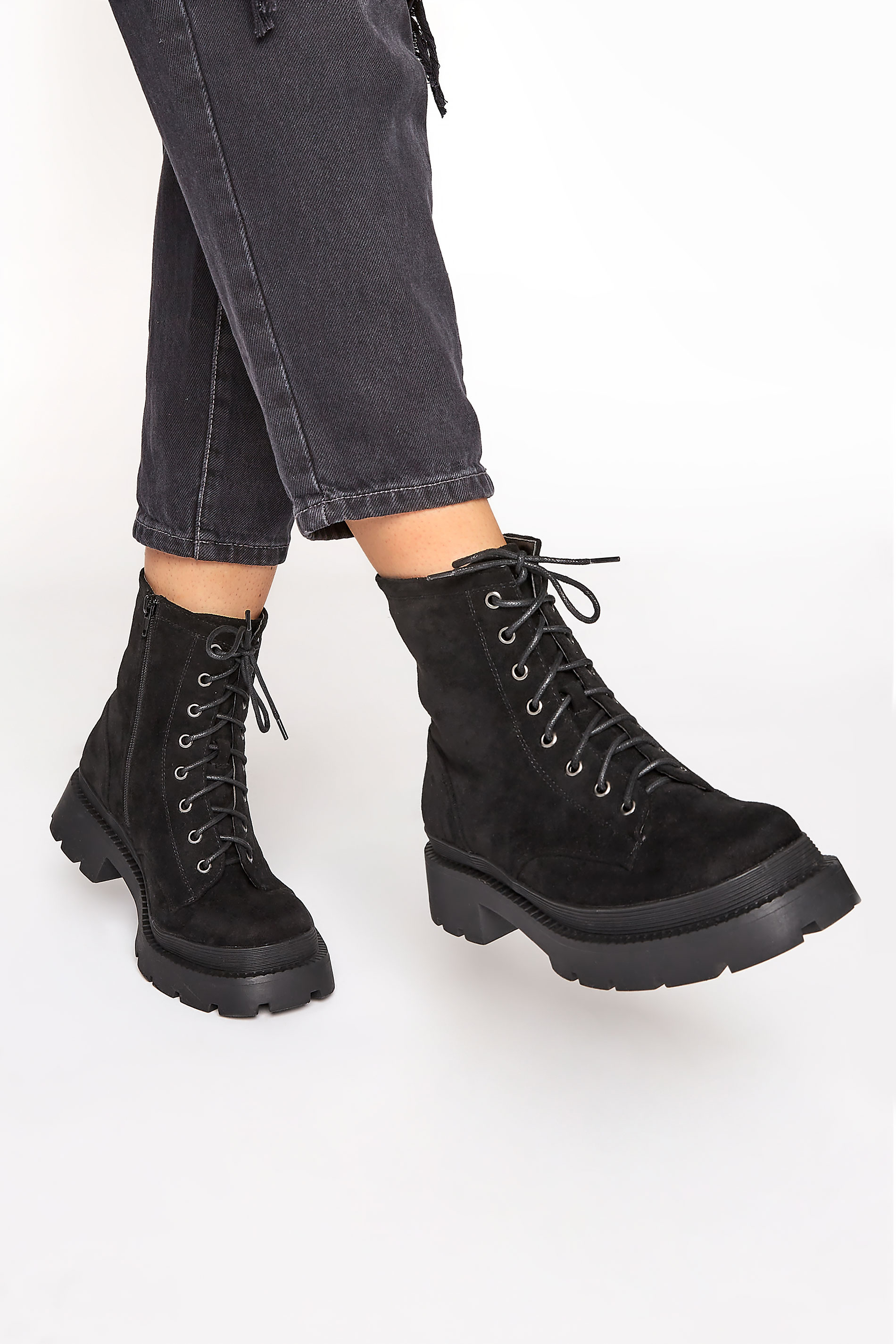 Black Faux Suede Chunky Lace-Up Boot in Regular Fit_M.jpg