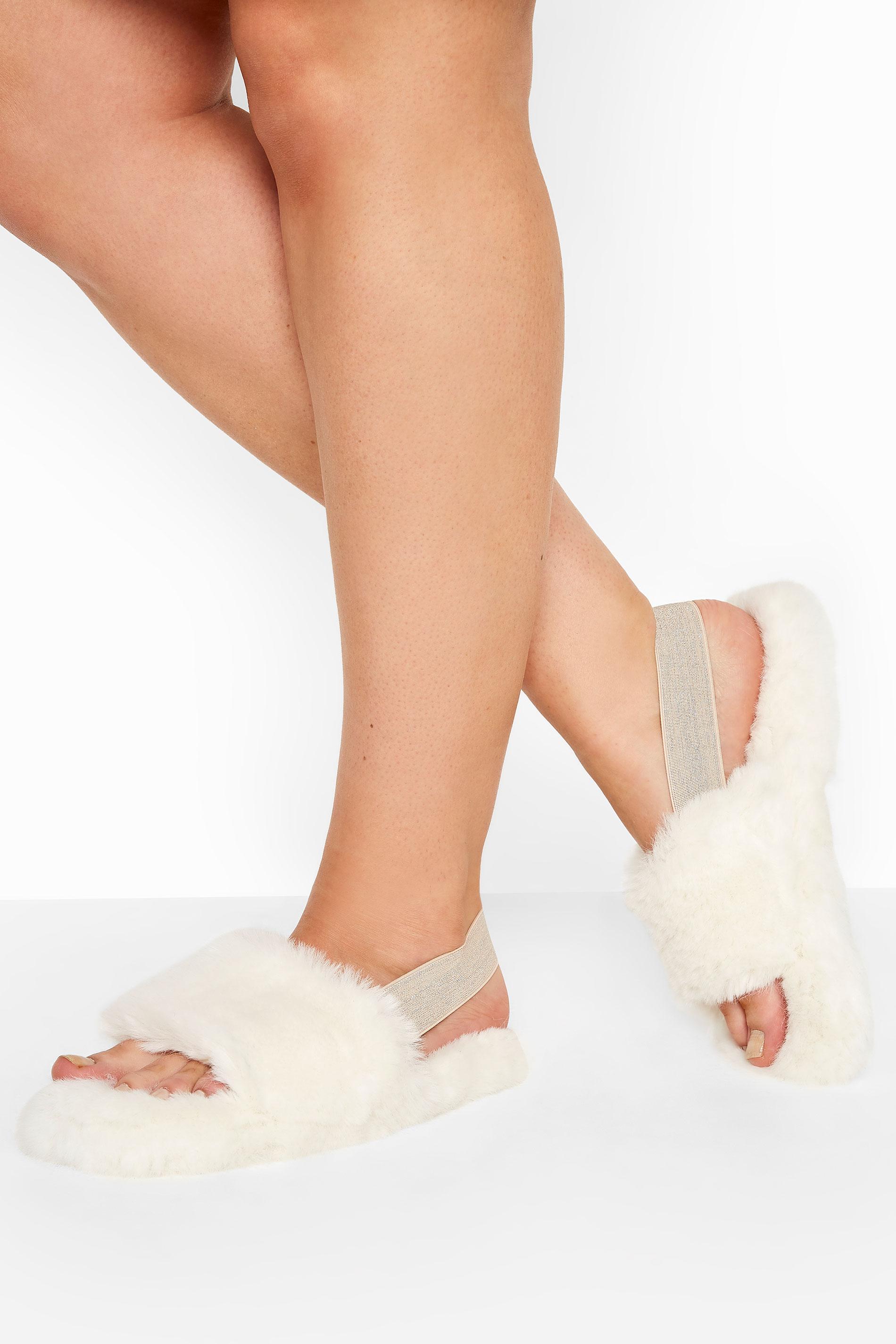 Cream Vegan Faux Fur Slingback Slippers In Regular Fit