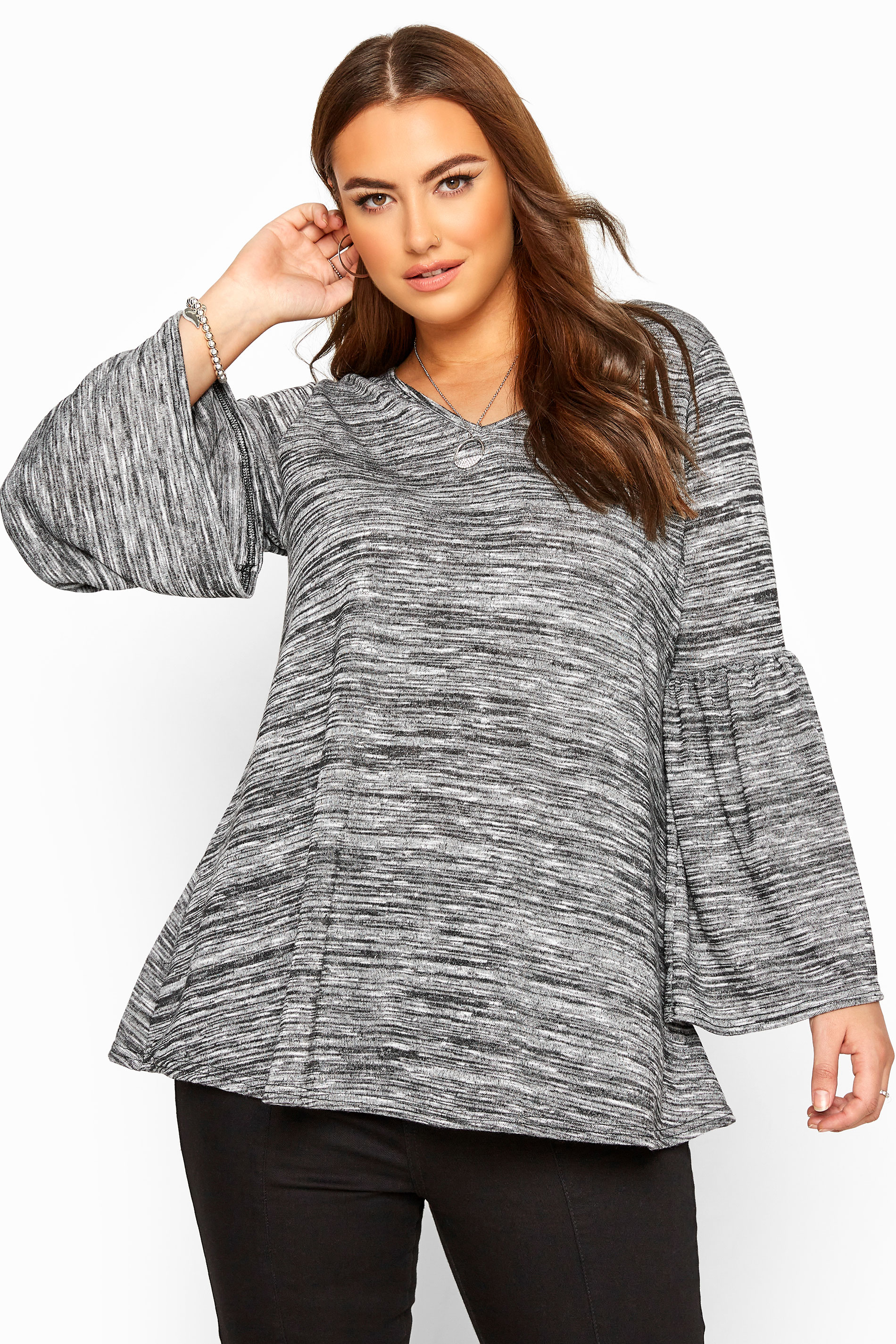 Grey Marl Wide Flute Sleeve Knitted Top