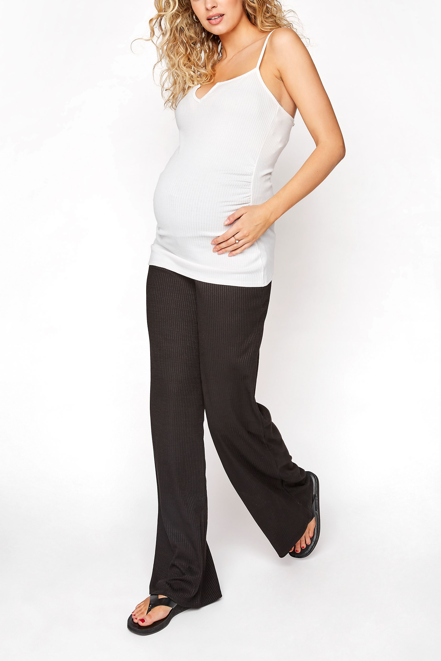LTS Maternity Black Ribbed Wide Leg Trousers