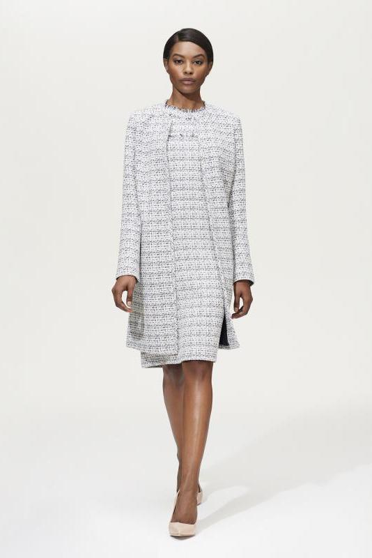 Karl Lagerfeld Paris Longline Fray Detail Tweed Jacket