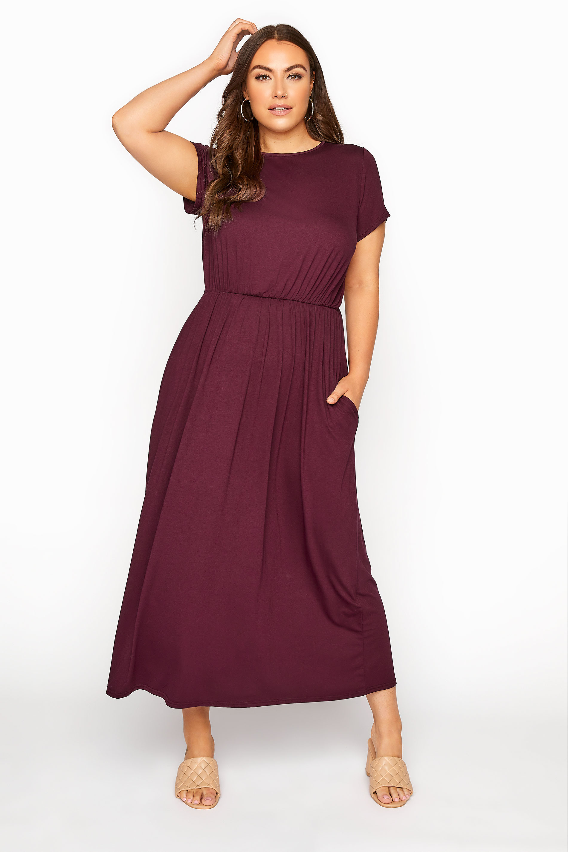 YOURS LONDON Burgundy Pocket Maxi Dress_A.jpg