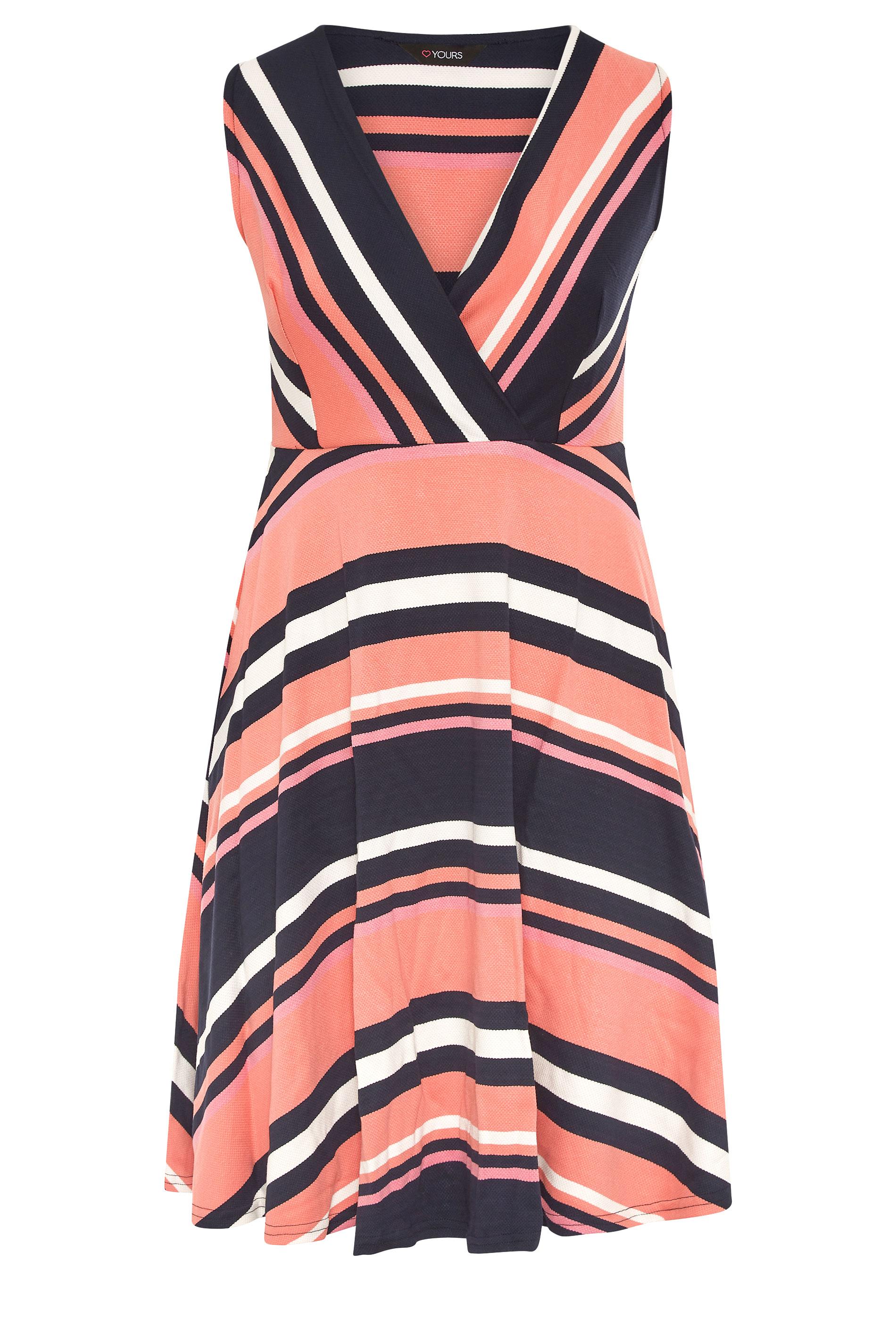 Pink Stripe Wrap Skater Dress_F.jpg