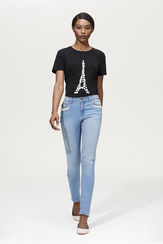 Bleach Karl Lagerfeld Paris Pearl Trim Jean