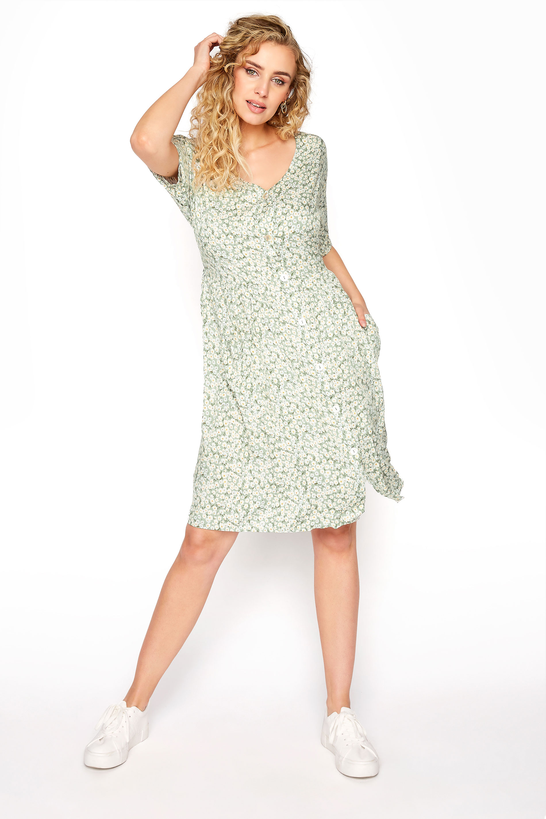 LTS Sage Green Floral Button Smock Tunic