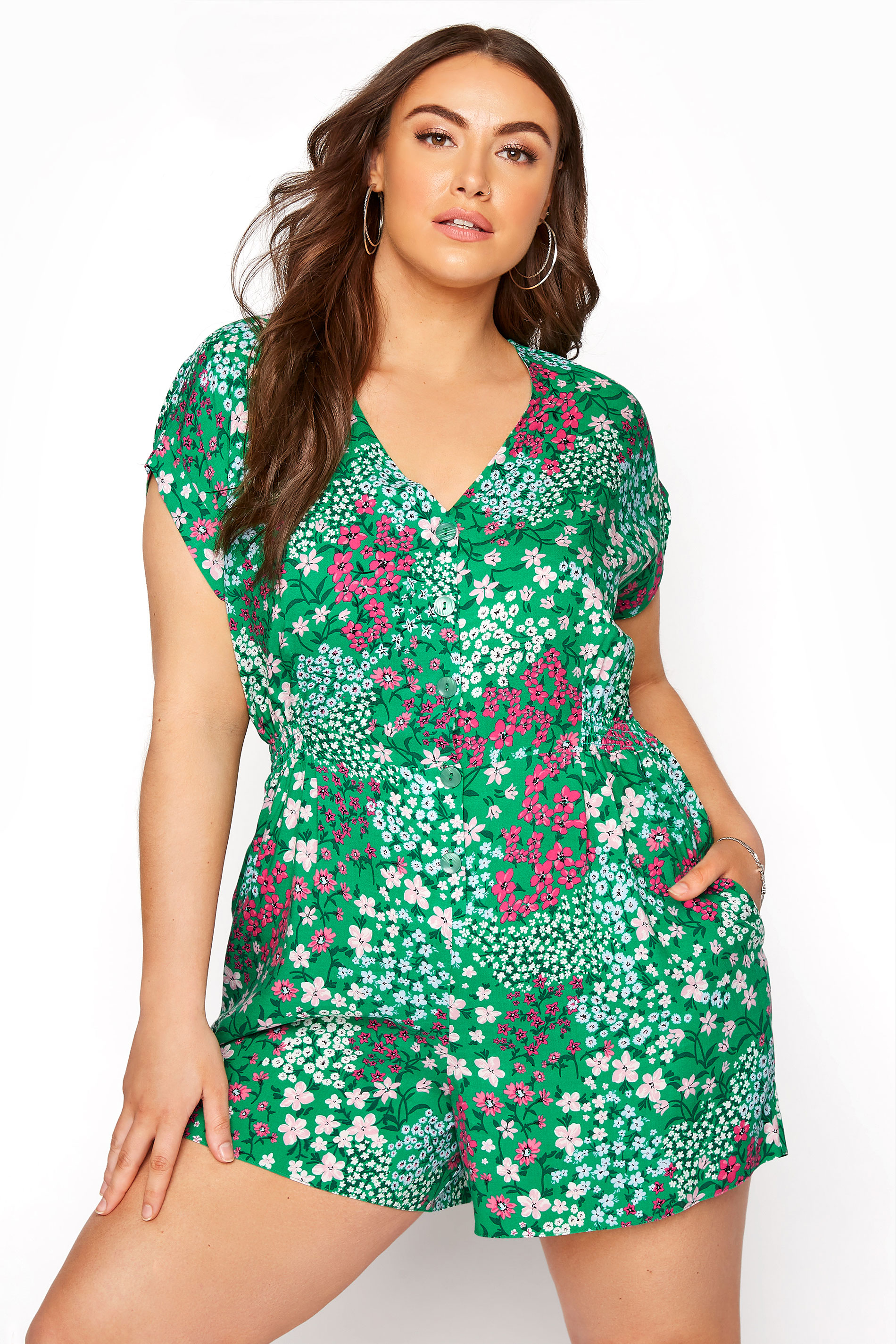 YOURS LONDON Green Ditsy Floral Button Playsuit