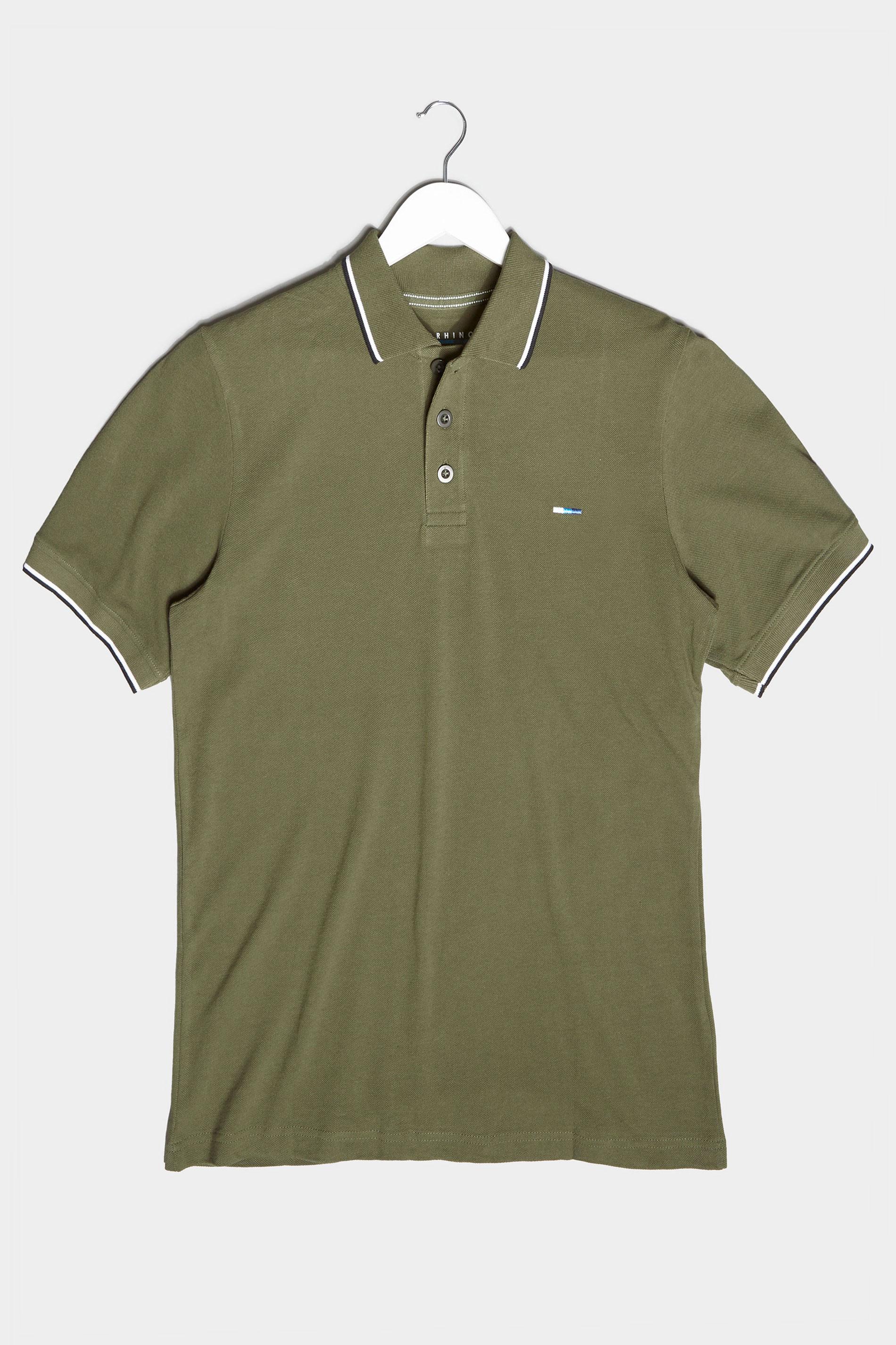 BadRhino Khaki Essential Tipped Polo Shirt