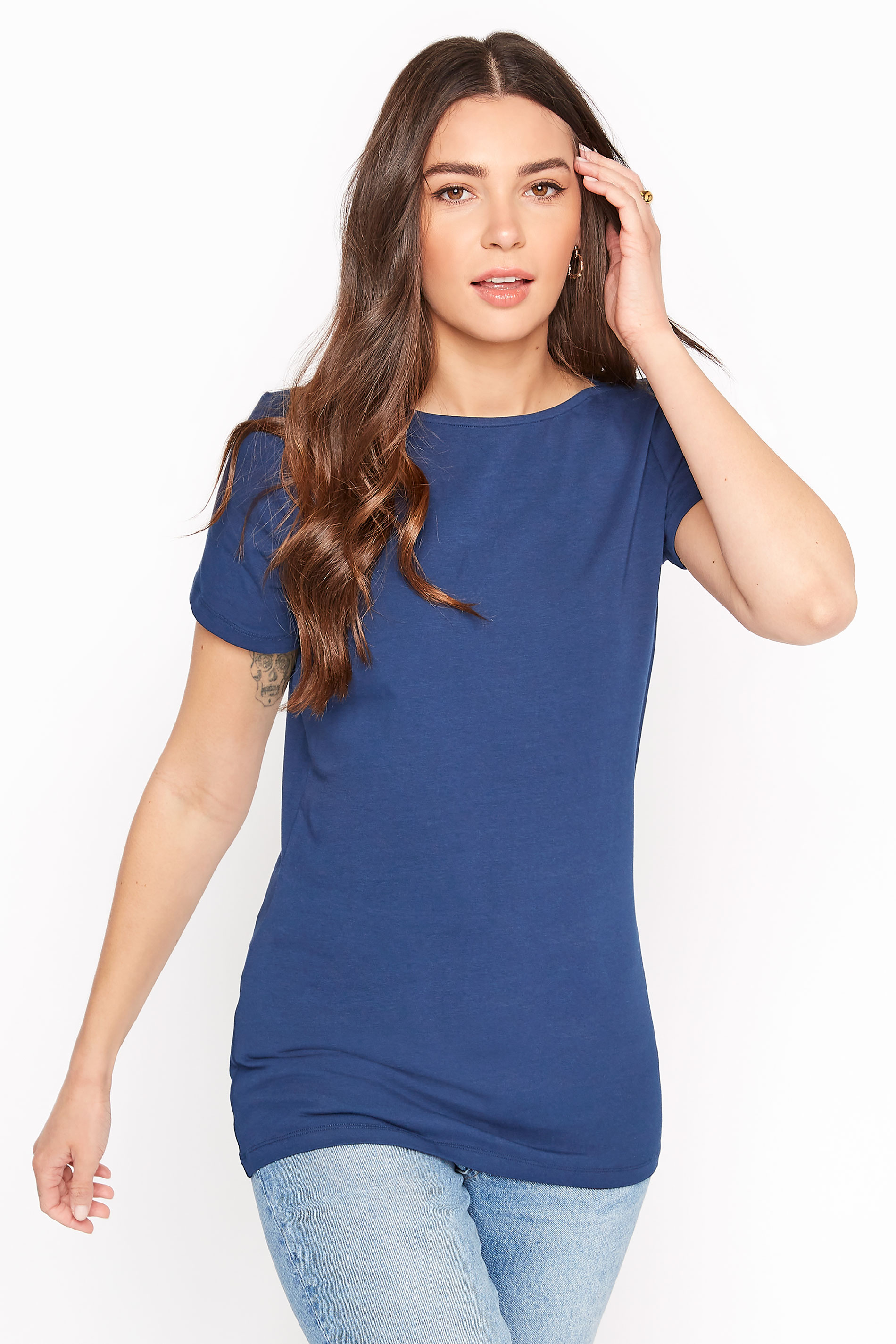 Navy Cotton Stretch Boat Neck T-Shirt