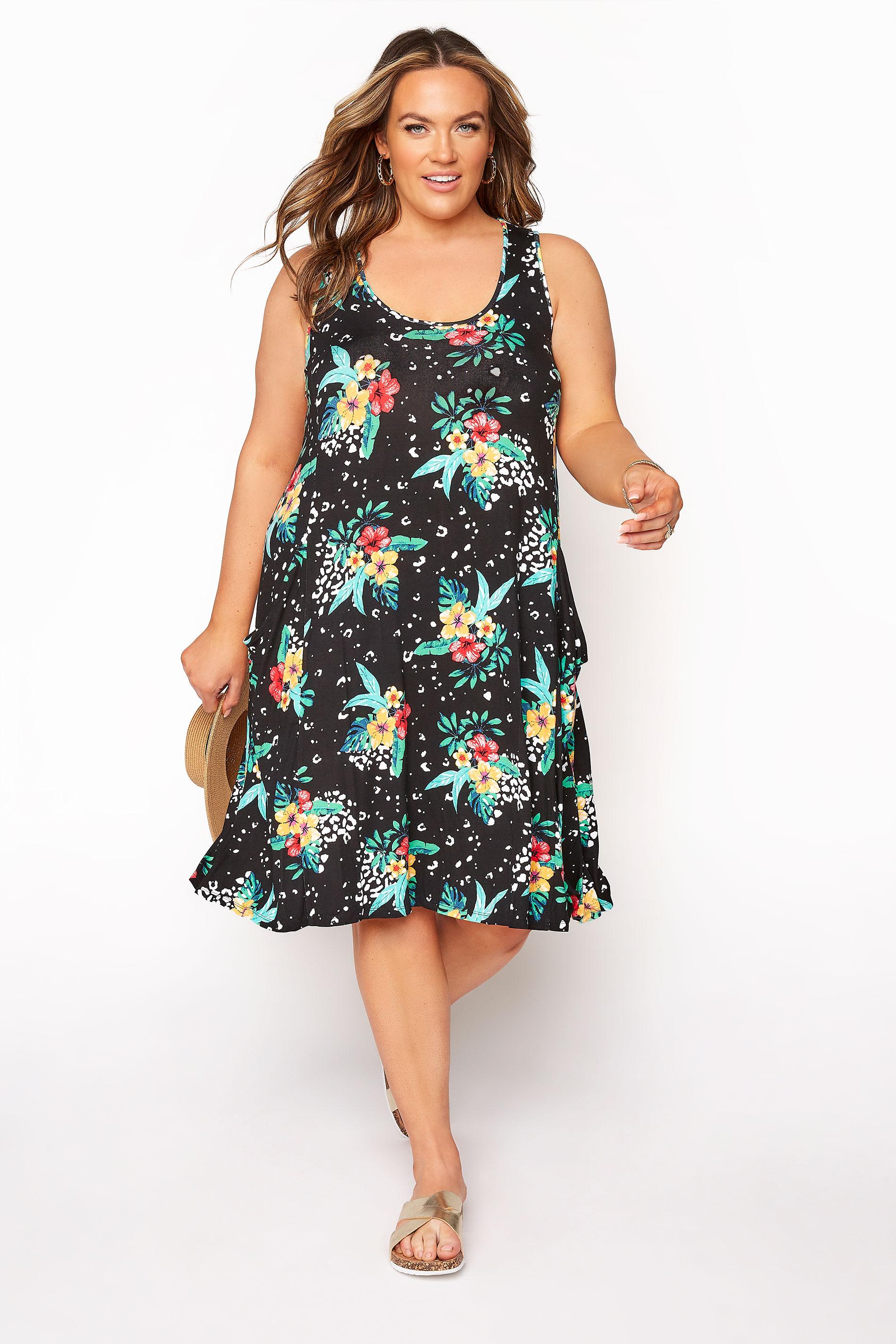 Black Floral Animal Drape Pocket Sleeveless Dress