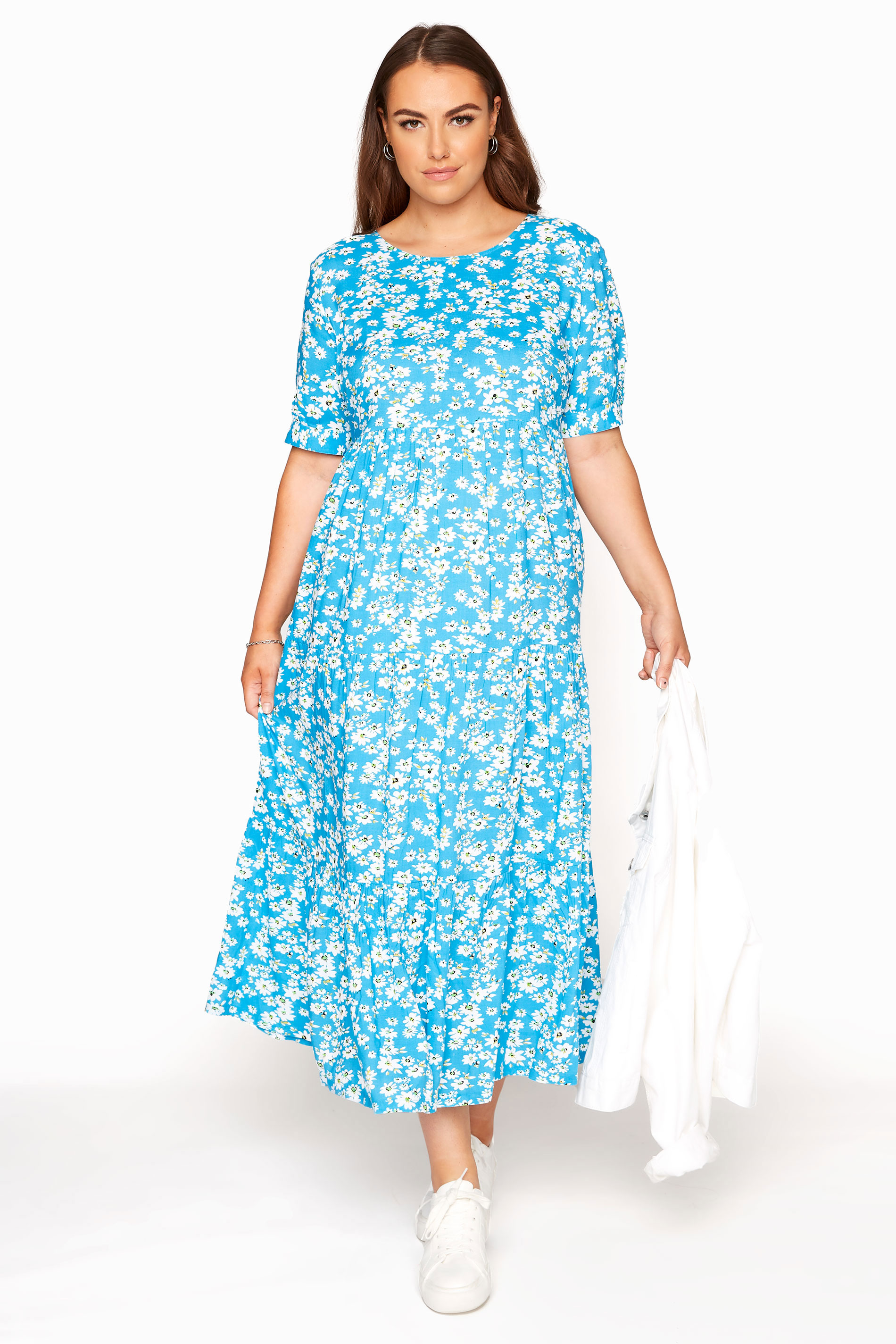 LIMITED COLLECTION Blue Daisy Tiered Smock Dress_A.jpg