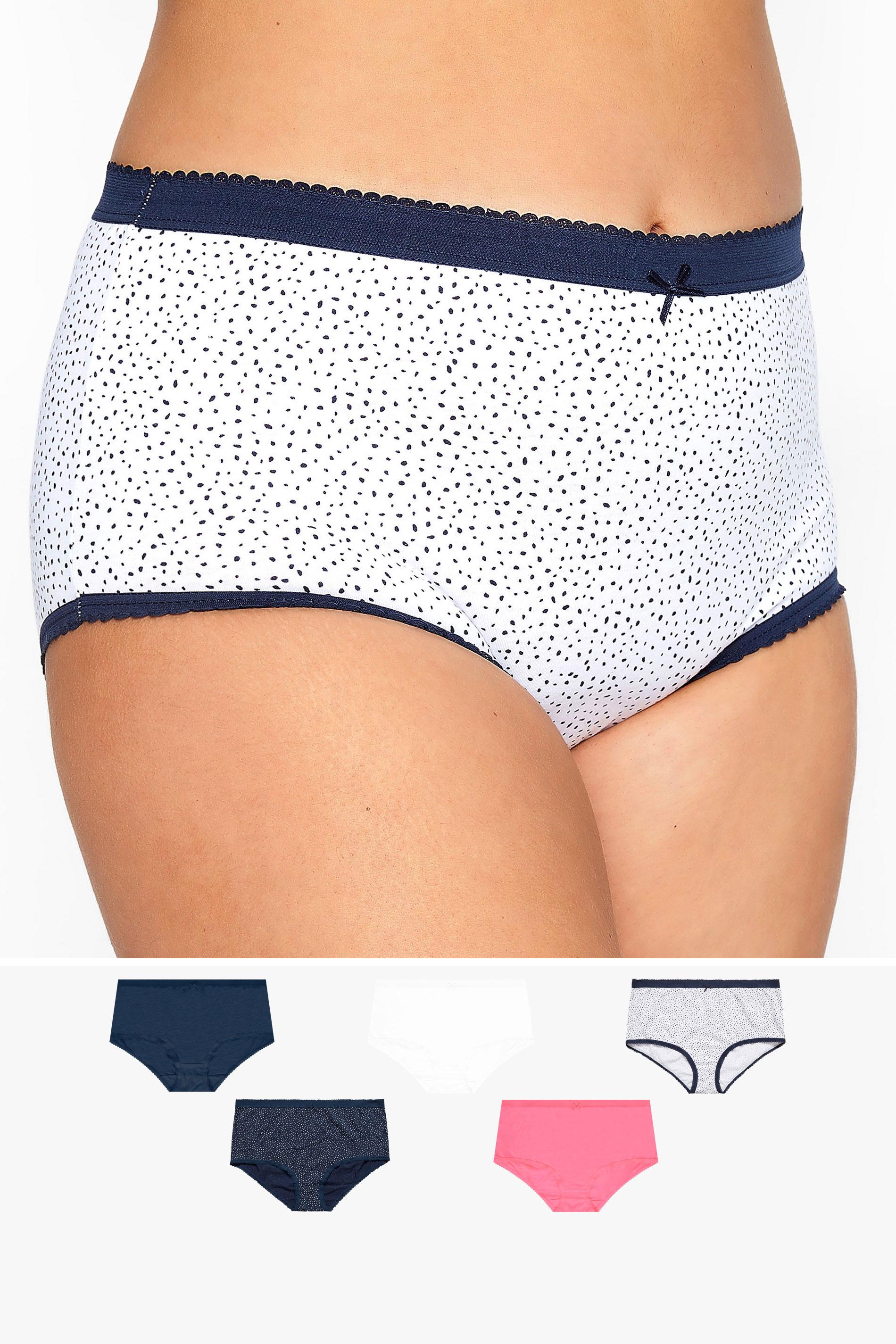 5er PACK Multi Taillenslips mit breiter Seitenpartie & Punkte Print
