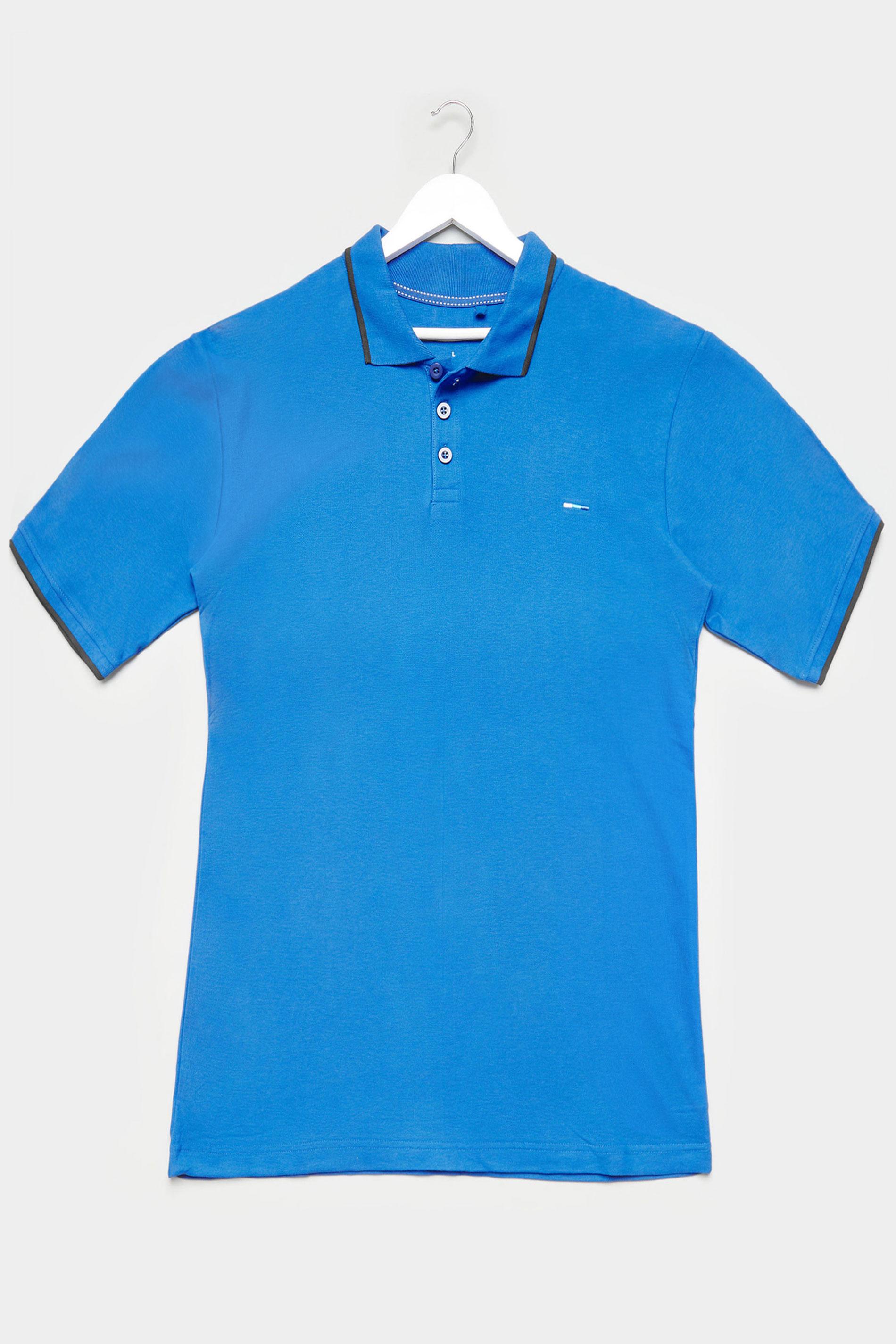 BadRhino Marine Blue Contrast Tipped Polo Shirt