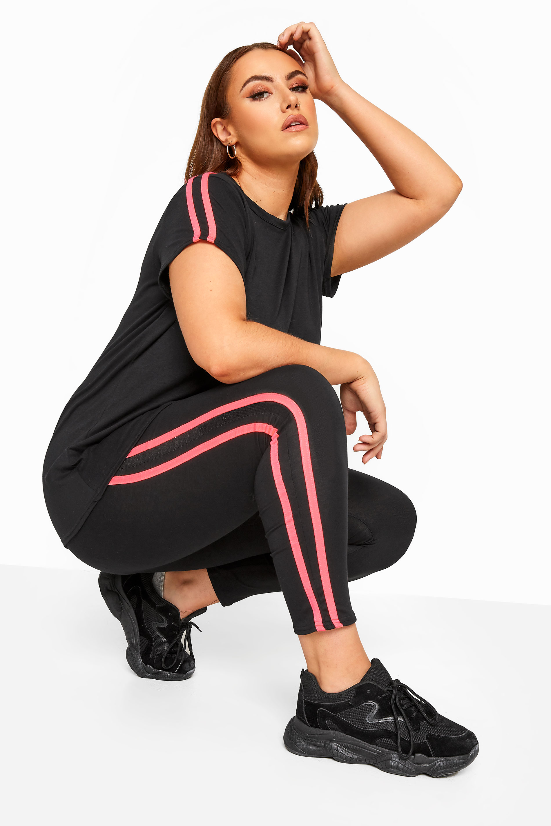 LIMITED COLLECTION Black Neon Pink Tape Leggings