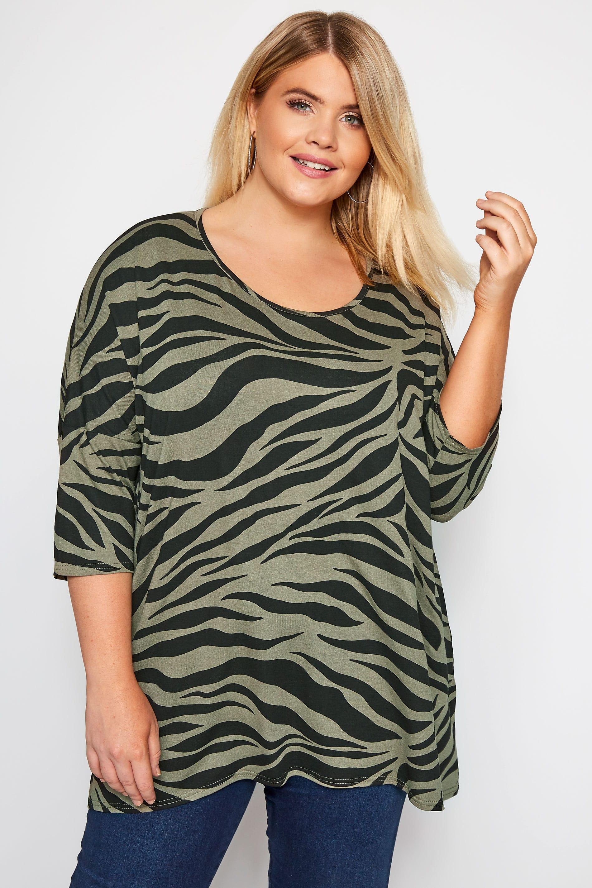 Khaki Zebra Print Top