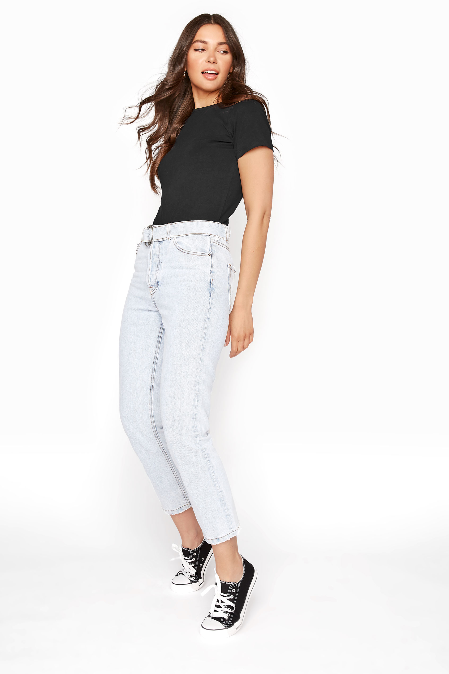 Light Blue Belted Straight Leg Jeans
