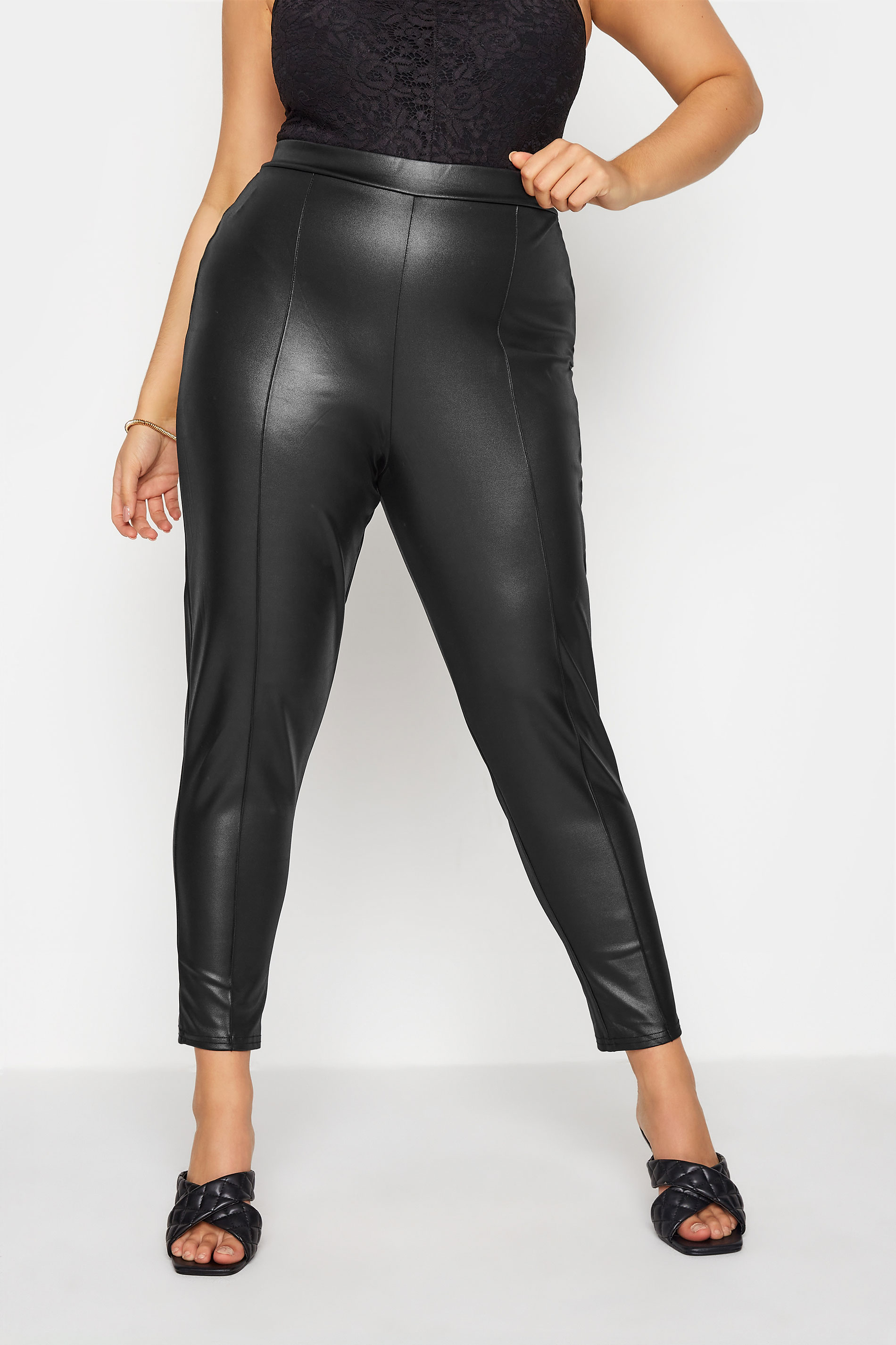 YOURS LONDON Black Leather Look Trousers_B.jpg