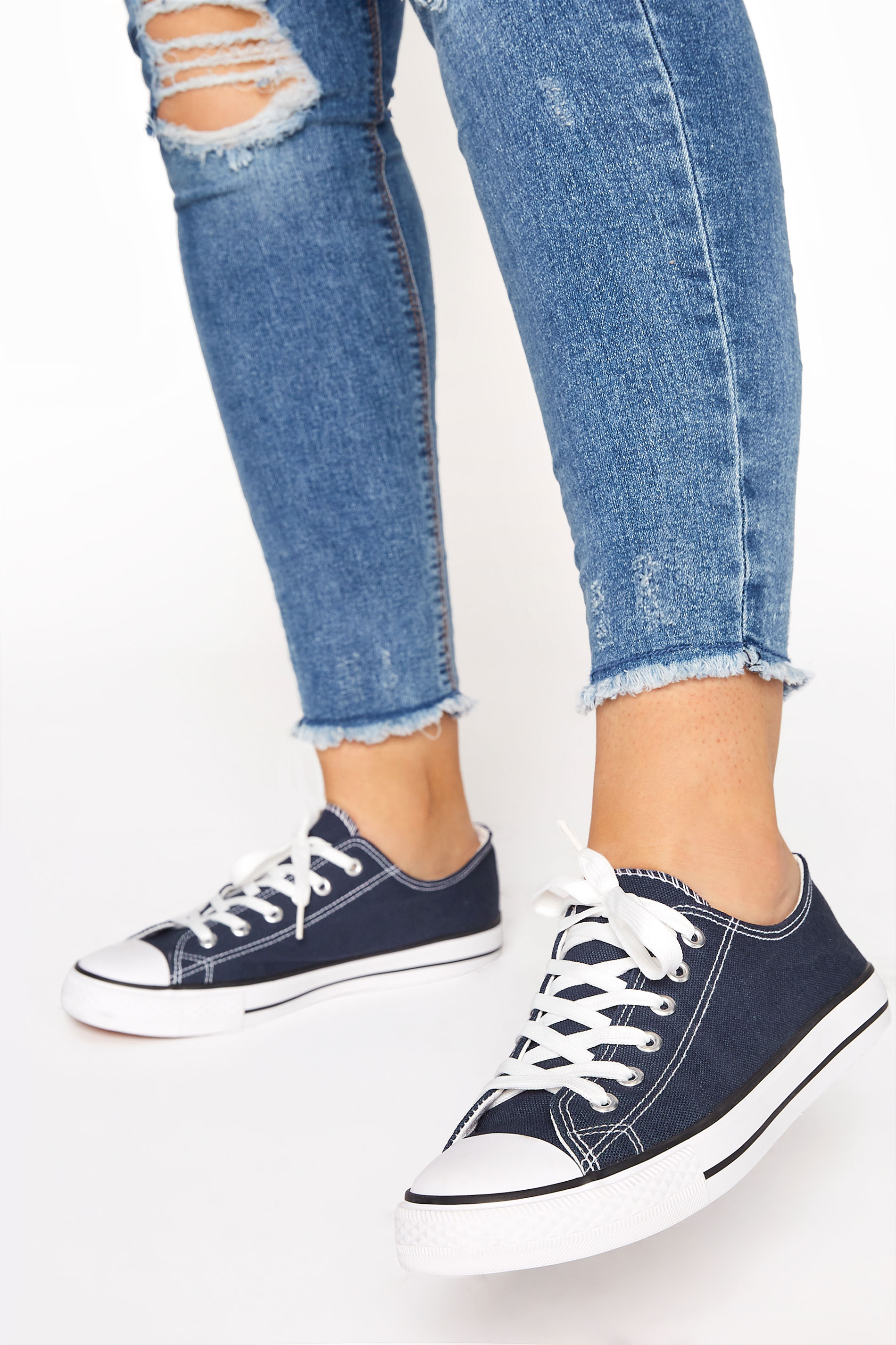 Yours Navy Low Canvas Trainer in Regular Fit