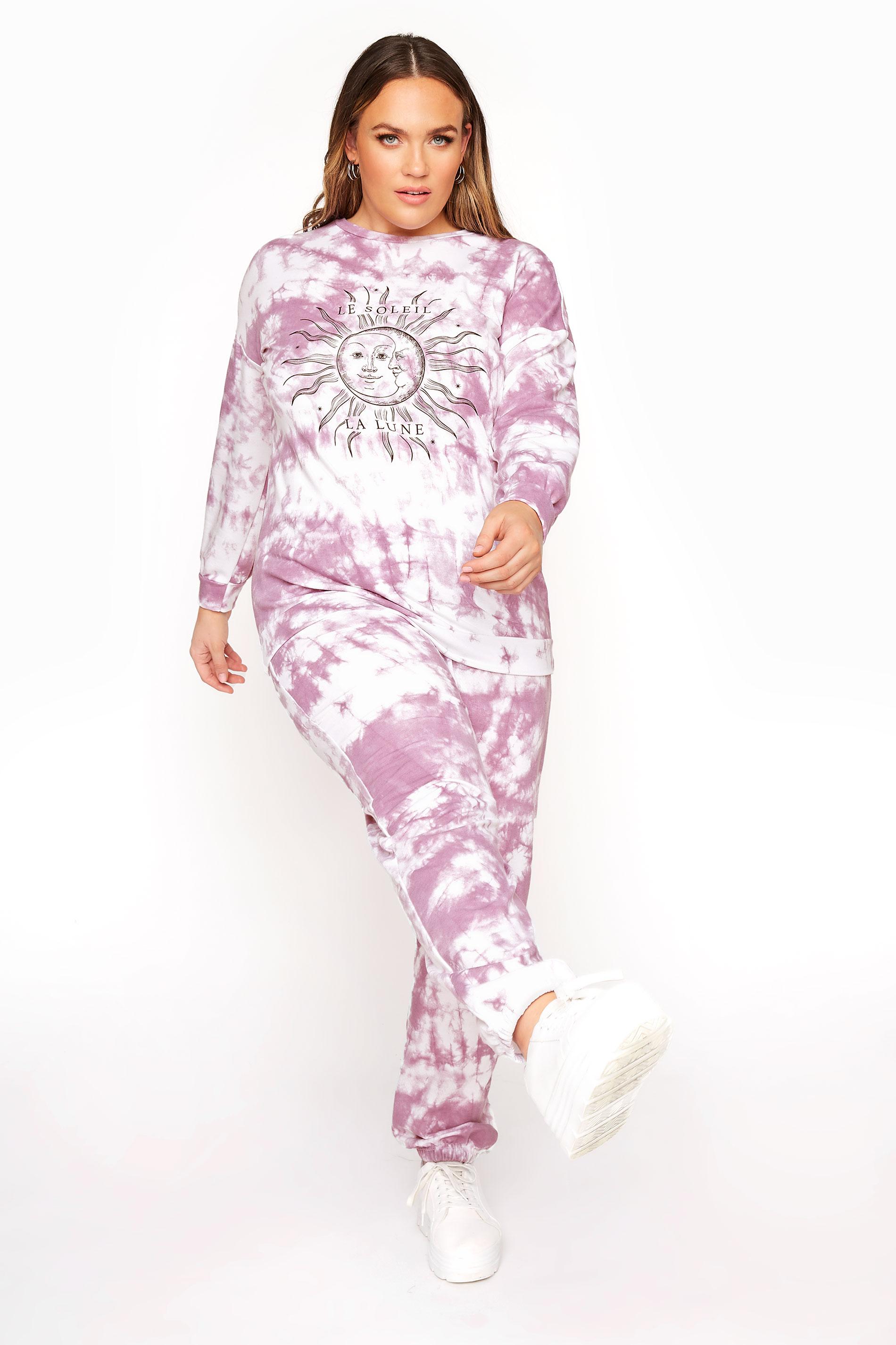 LIMITED COLLECTION Lilafarbenes Batik Sweatshirt mit 'Le Soleil' Schriftzug