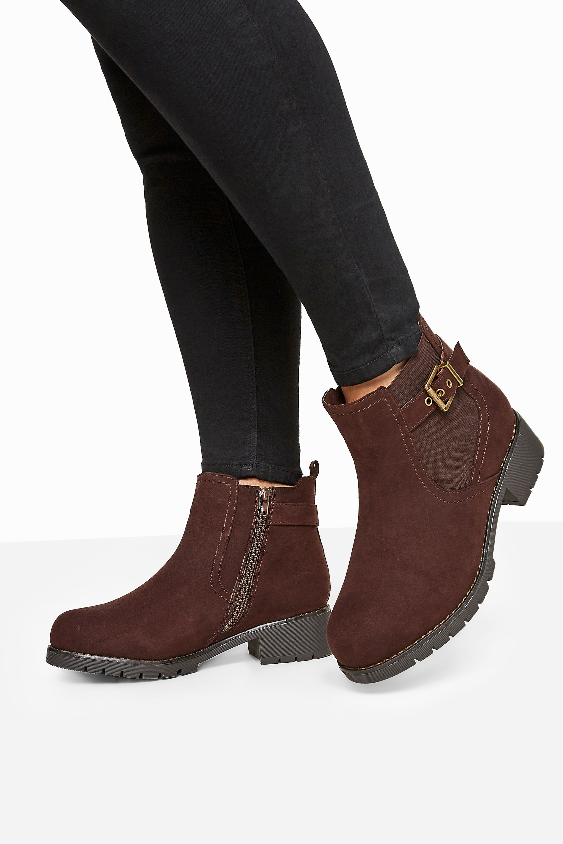 Brown Vegan Faux Suede Chelsea Buckle Ankle Boots In Extra Wide Fit
