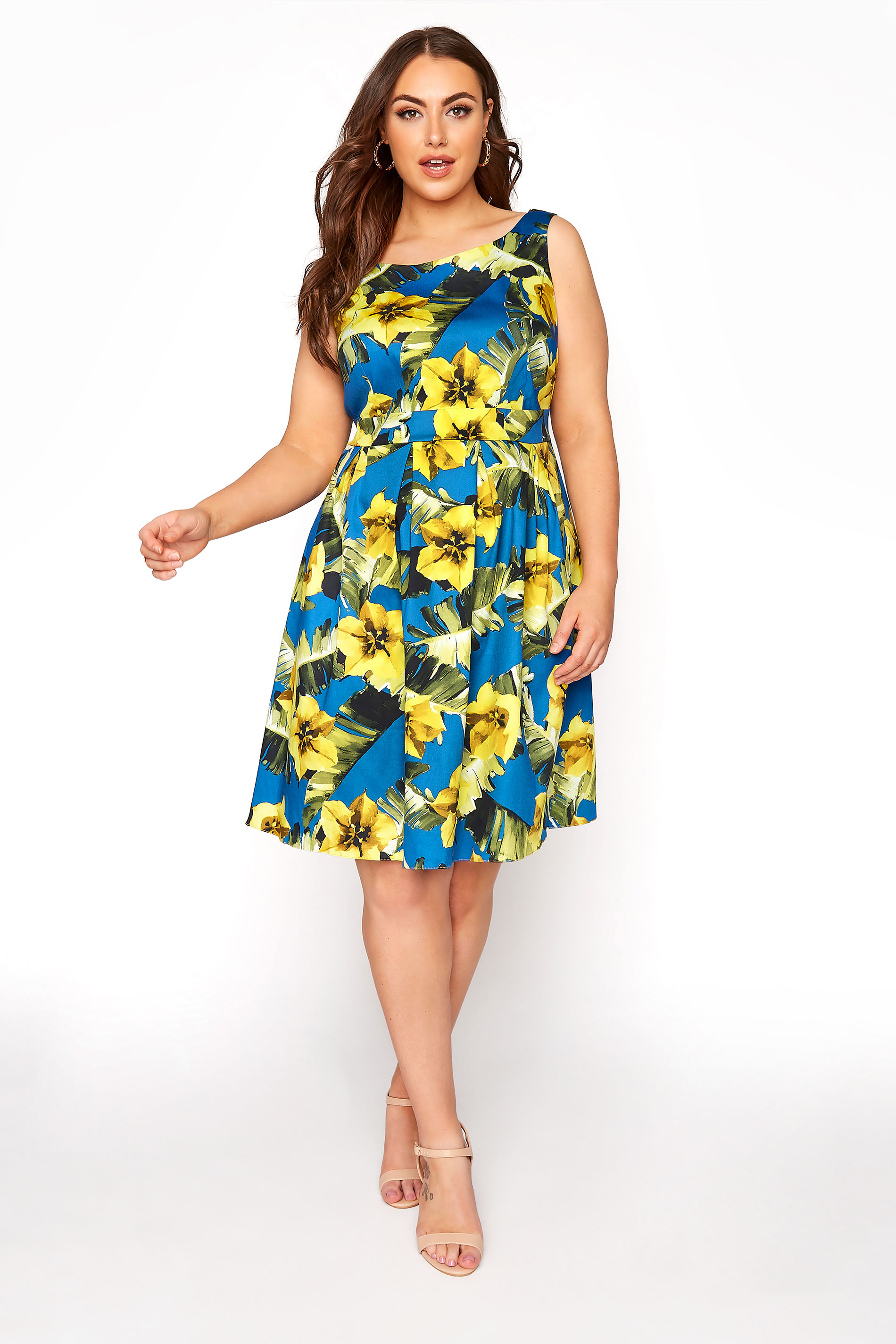 Yellow Sleeveless Floral Skater Dress