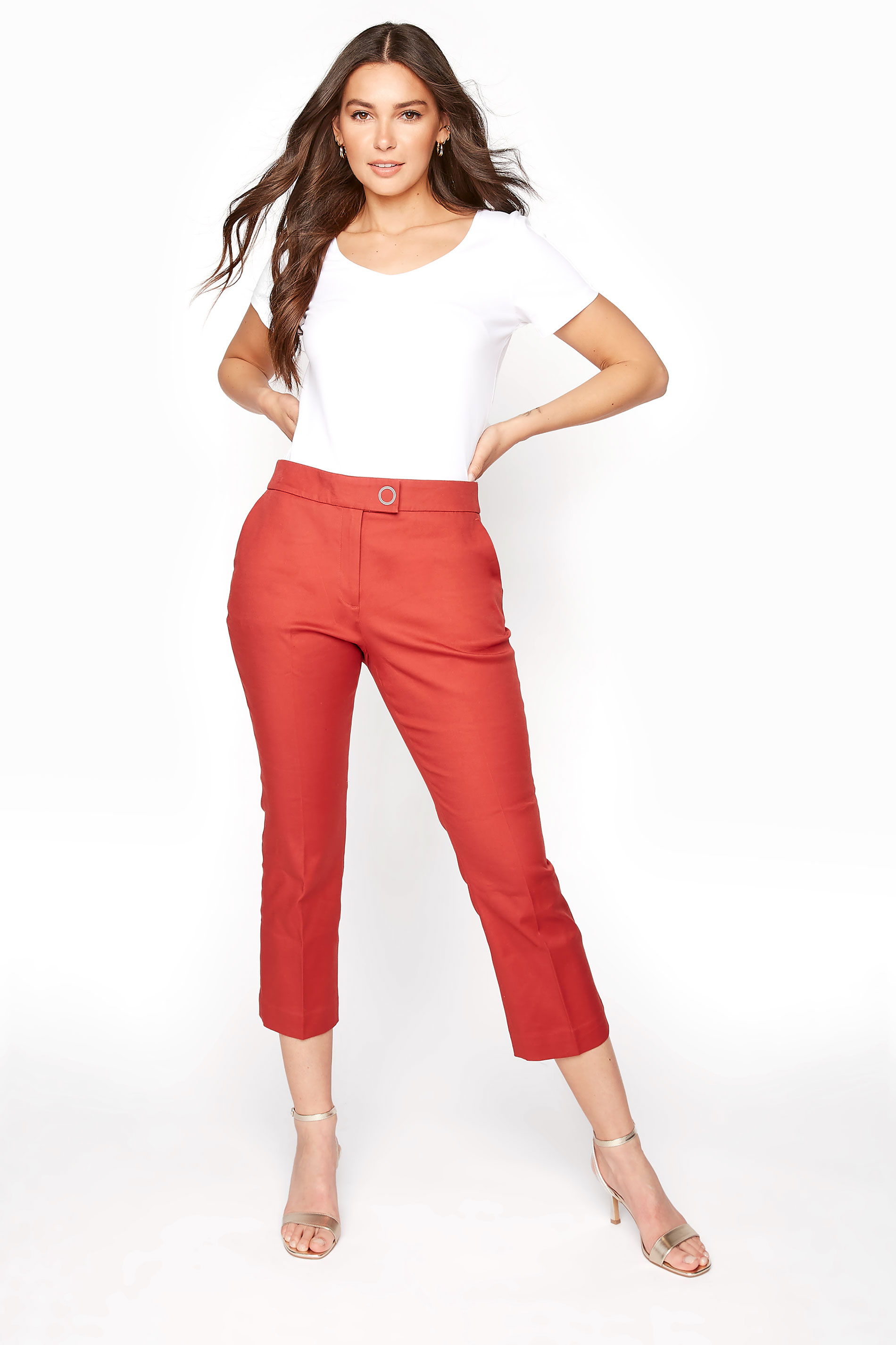 Red Smart Sateen Cropped Trousers