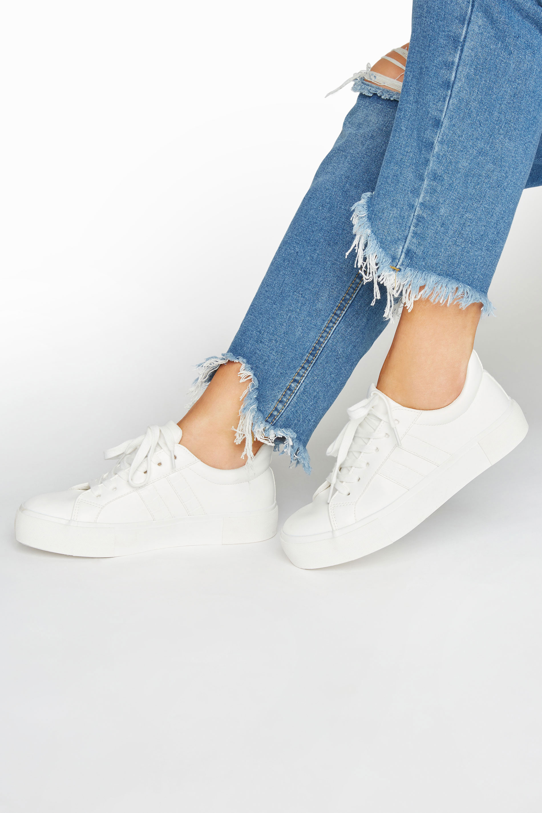 LIMITED COLLECTION White Platform Stripe Trainers In Extra Wide Fit
