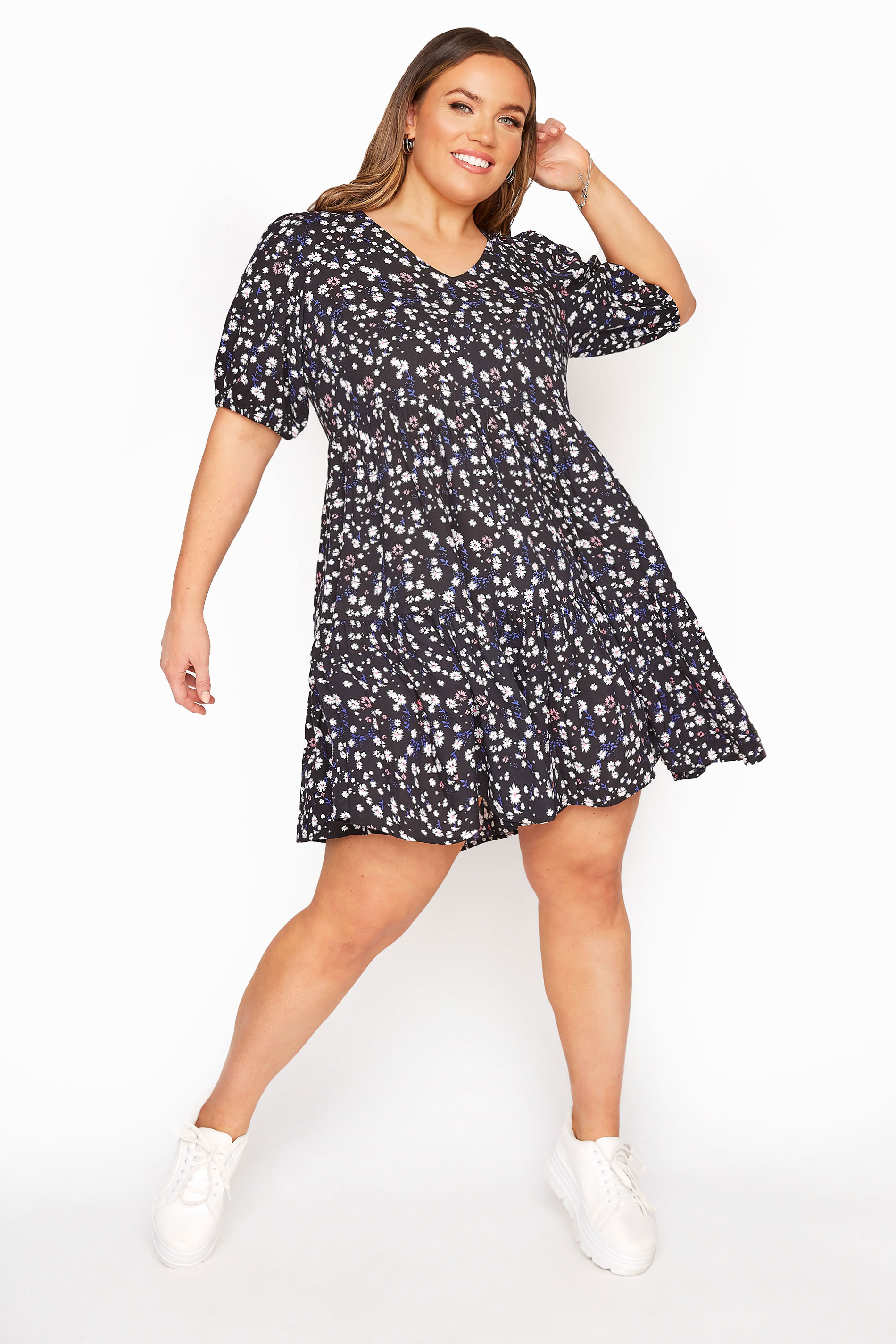 Black Multi Ditsy Floral Tiered Dress