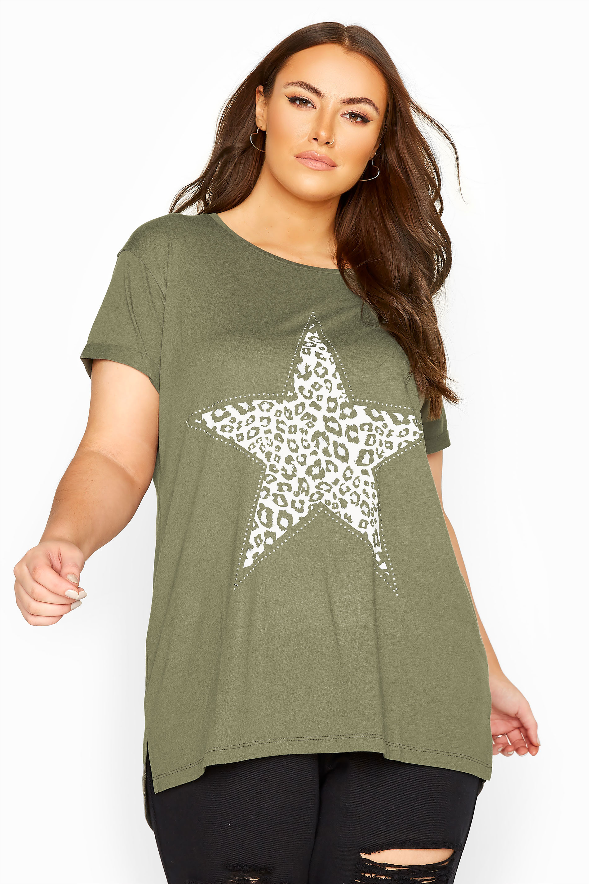 Khaki Animal Print Star Studded Top